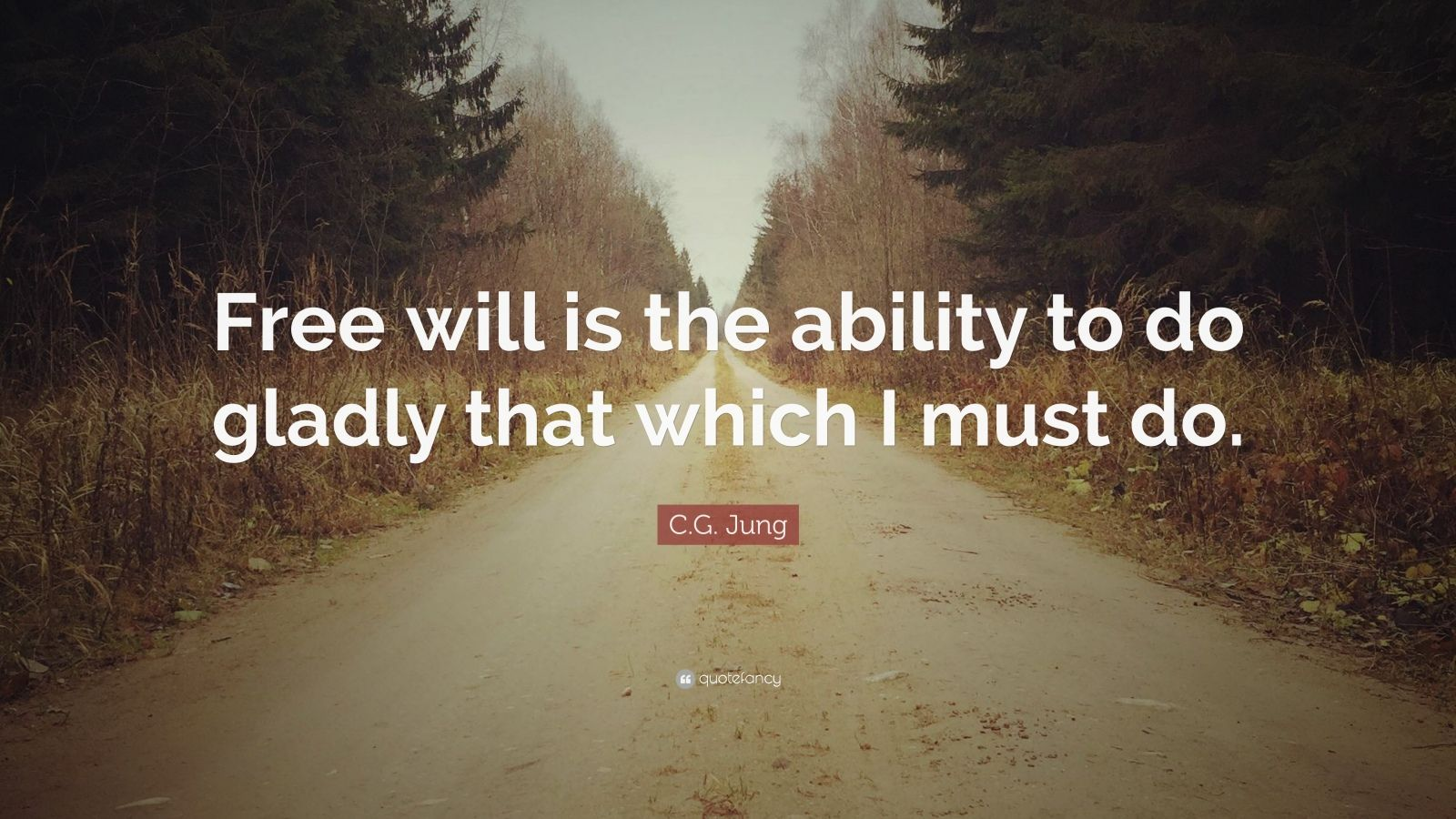 "C.G. Jung Quote: ""Free will is the ability to do gladly that which I must do."""