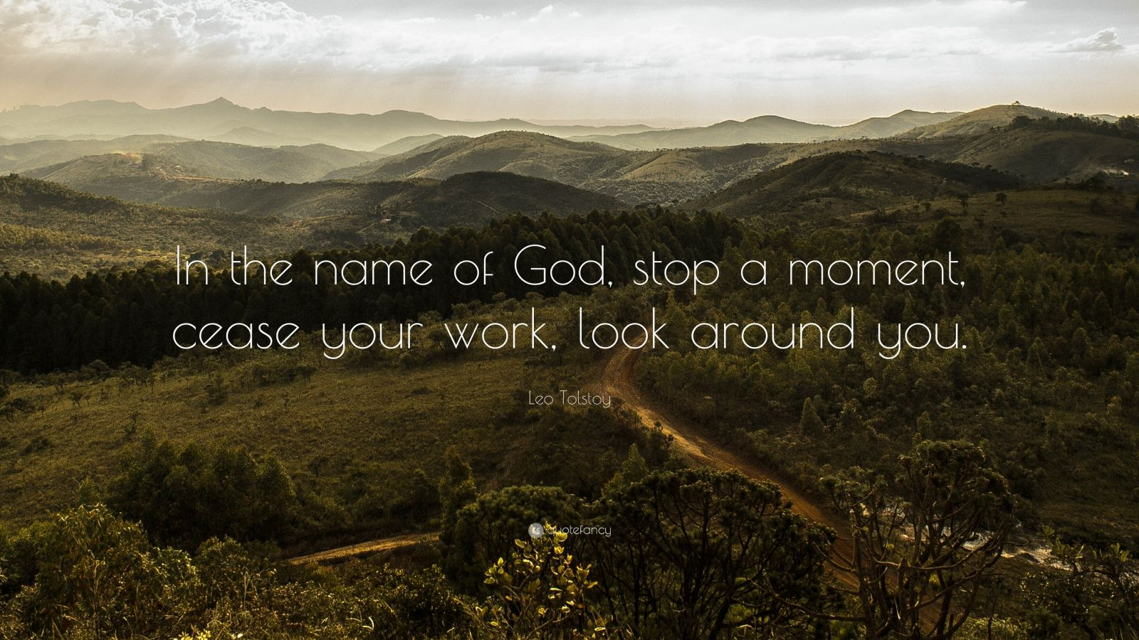 "Leo Tolstoy Quote: ""In the name of God, stop a moment, cease your work, look around you."""
