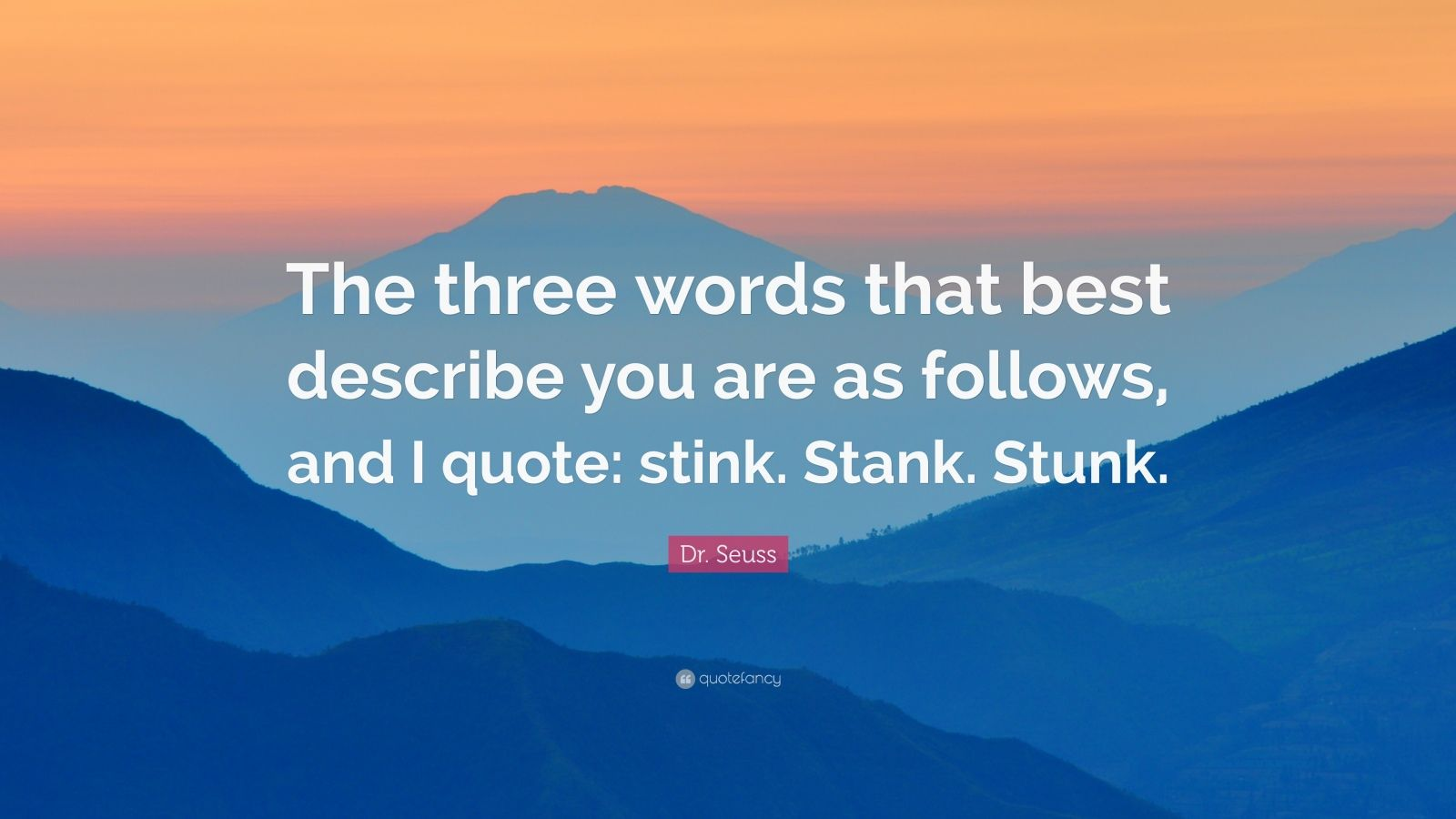 "Dr. Seuss Quote: ""The three words that best describe you are as follows, and I quote: stink. Stank. Stunk."""