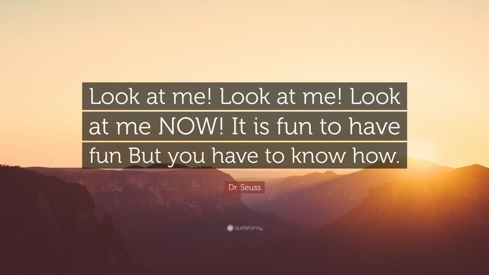 """Dr. Seuss Quote: """"Look at me! Look at me! Look at me NOW! It is fun to have fun But you have to know how."""""""