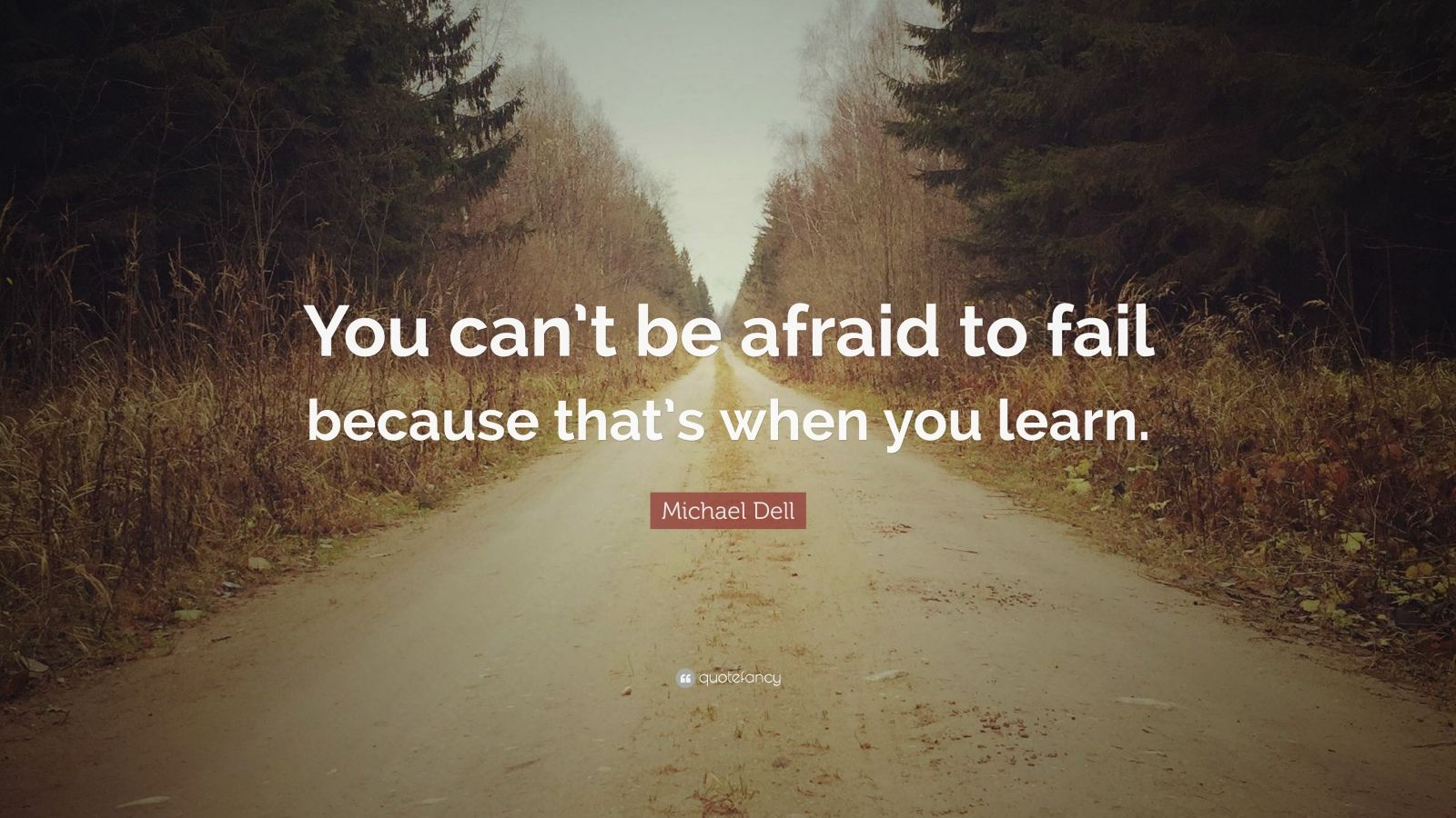 "Michael Dell Quote: ""You can't be afraid to fail because that's when you learn."""