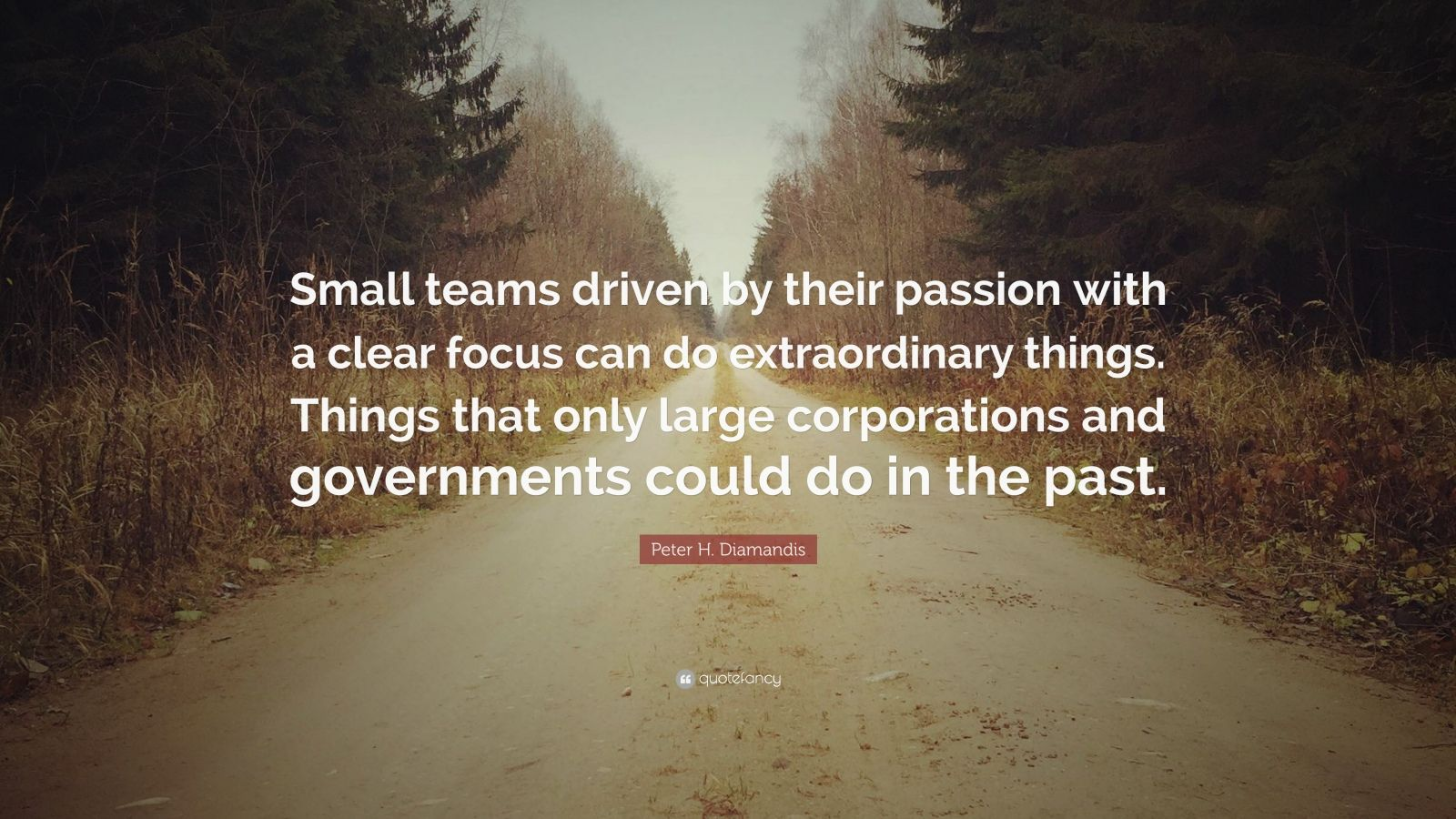 "Peter H. Diamandis Quote: ""Small teams driven by their passion with a clear focus can do extraordinary things. Things that only large corporations and governments could do in the past."""