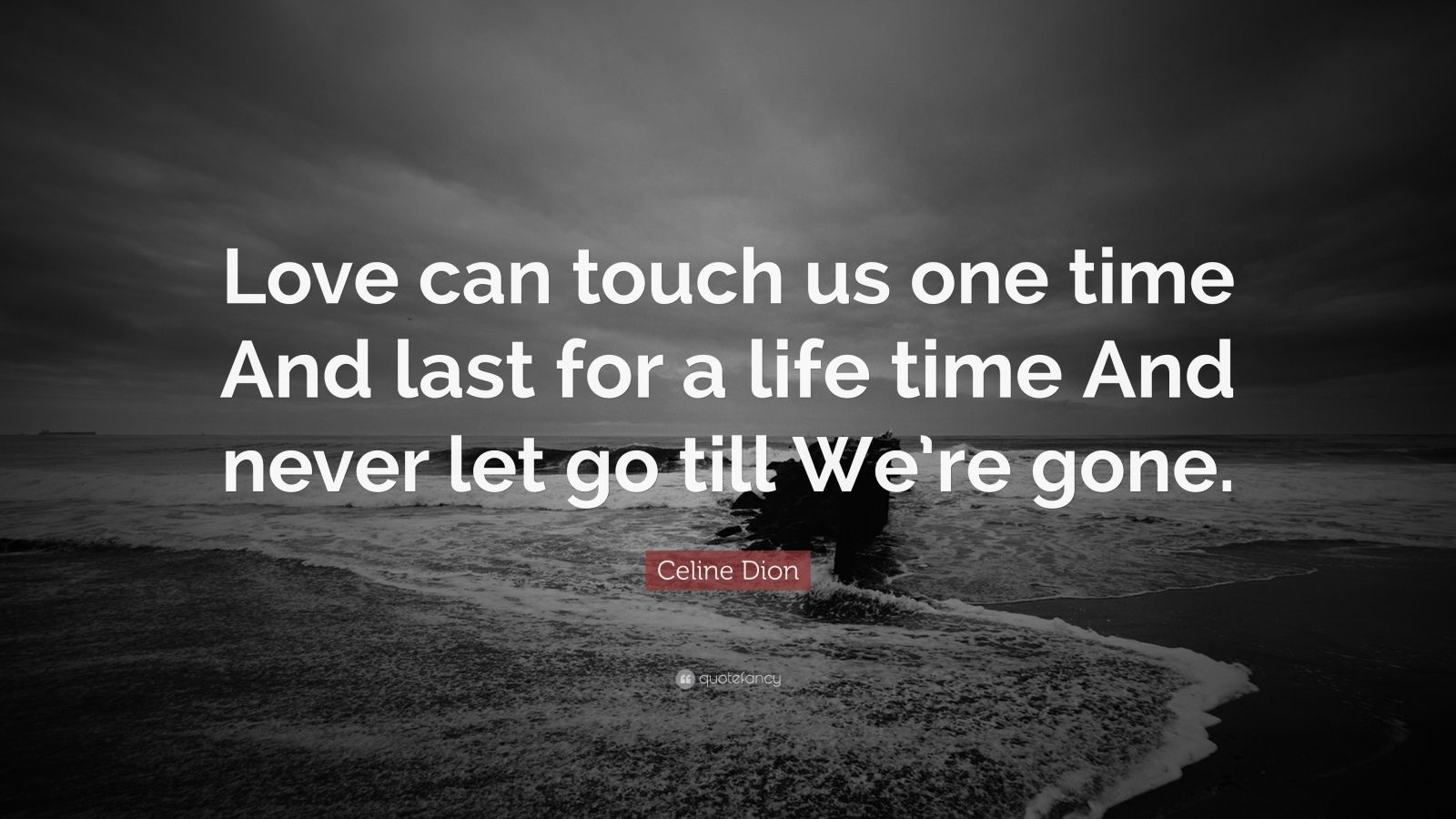 """Last Time I Checked Quotes: Celine Dion Quote: """"Love Can Touch Us One Time And Last"""