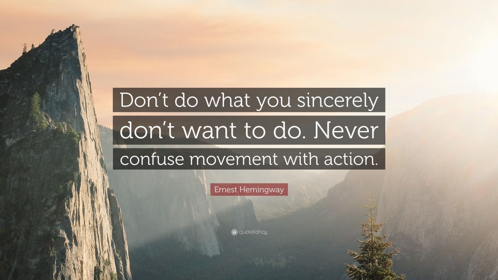 """Ernest Hemingway Quote: """"Don't do what you sincerely don't want to do. Never confuse movement with action."""""""