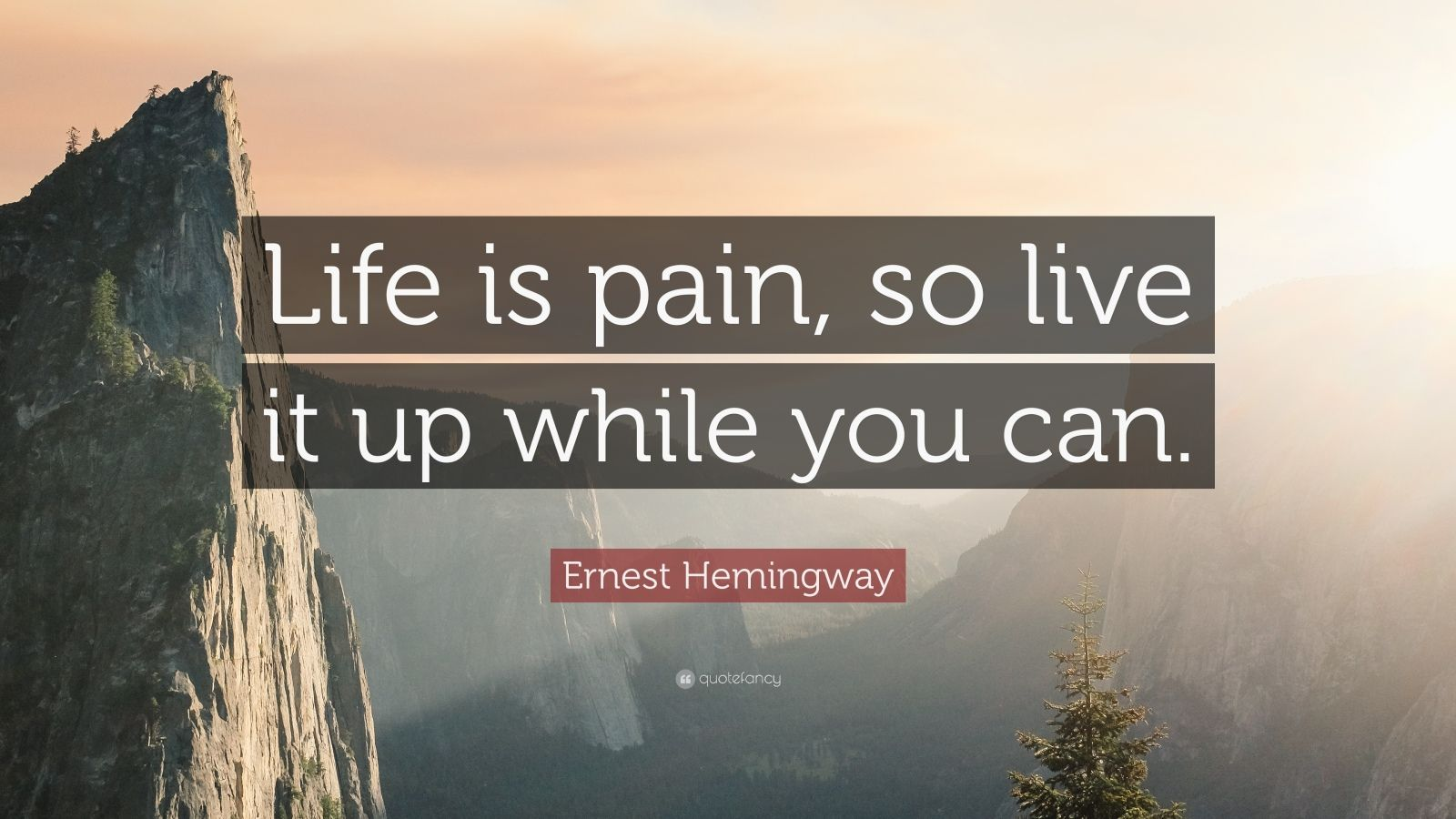 "Ernest Hemingway Quote: ""Life is pain, so live it up while you can."""