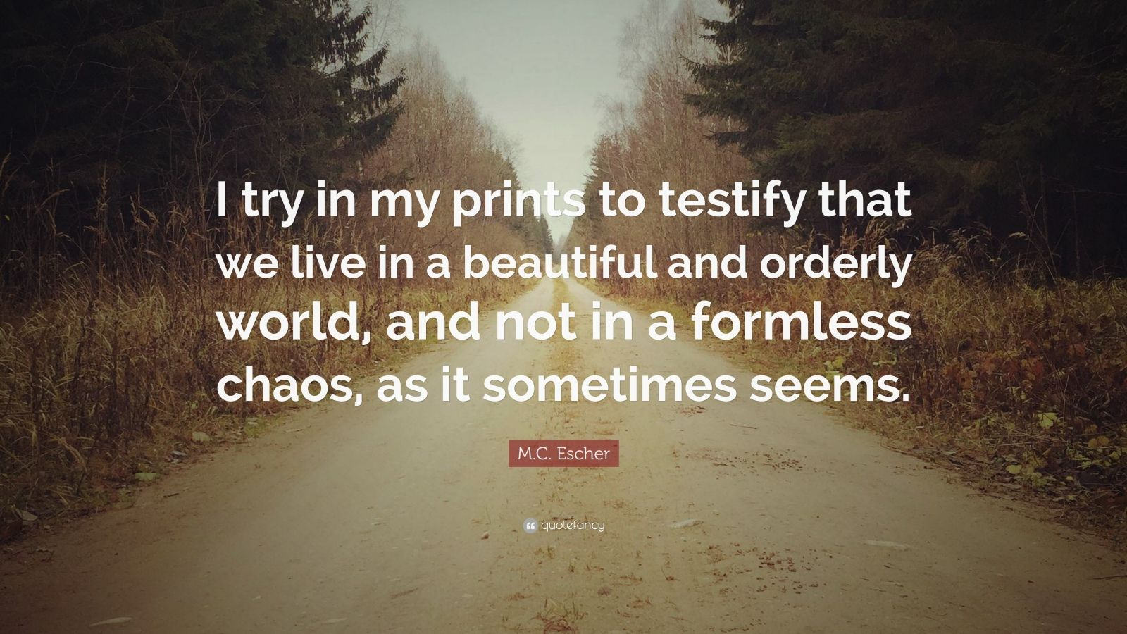 """M.C. Escher Quote: """"I try in my prints to testify that we live in a beautiful and orderly world, and not in a formless chaos, as it sometimes seems."""""""
