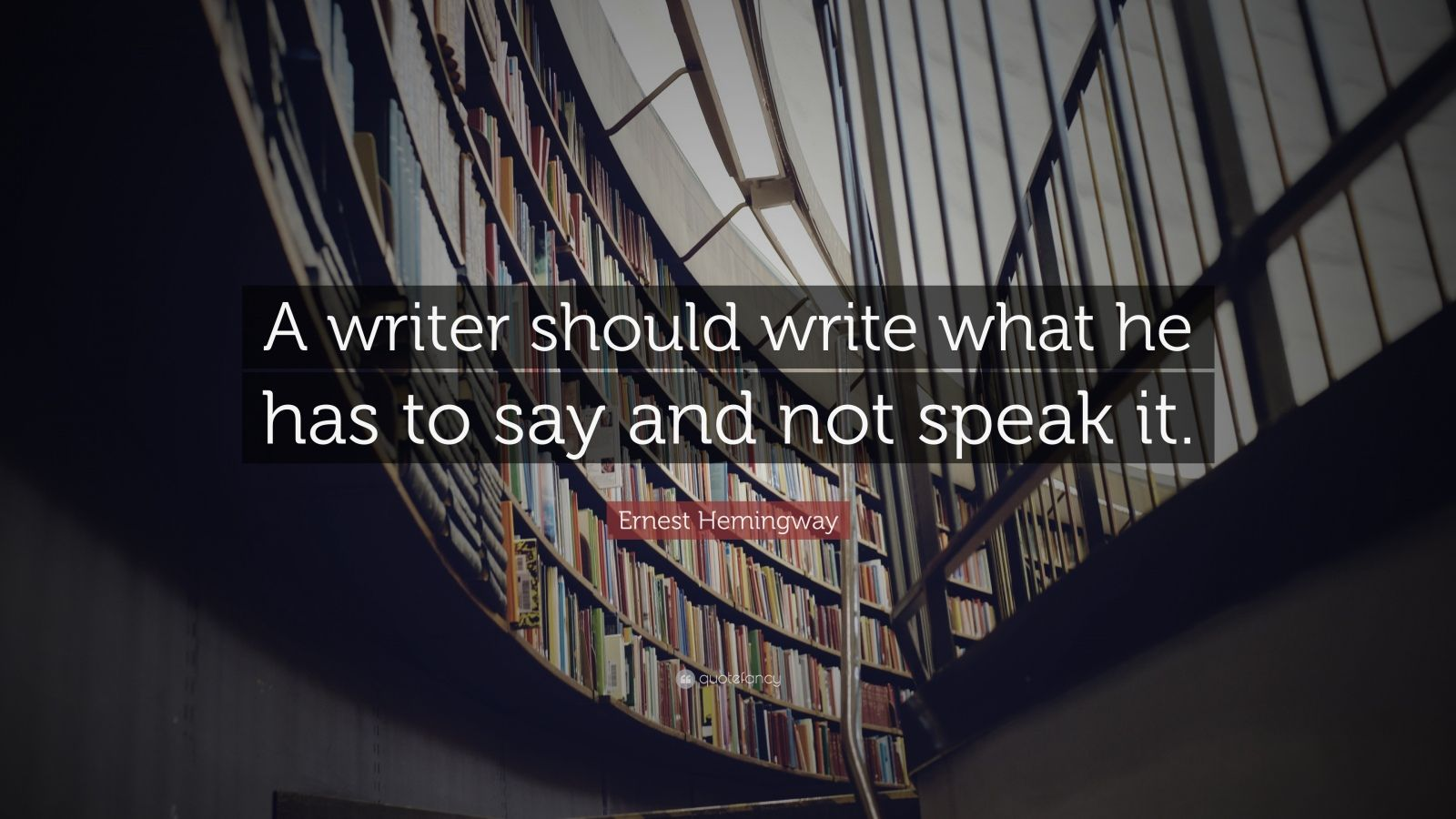 "Ernest Hemingway Quote: ""A writer should write what he has to say and not speak it."""