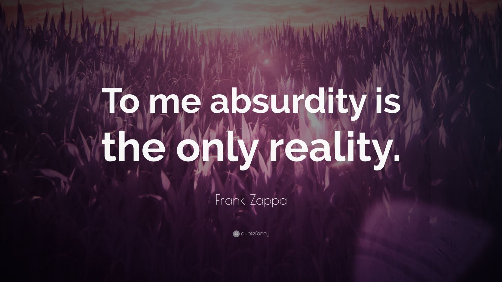 """Frank Zappa Quote: """"To me absurdity is the only reality."""""""