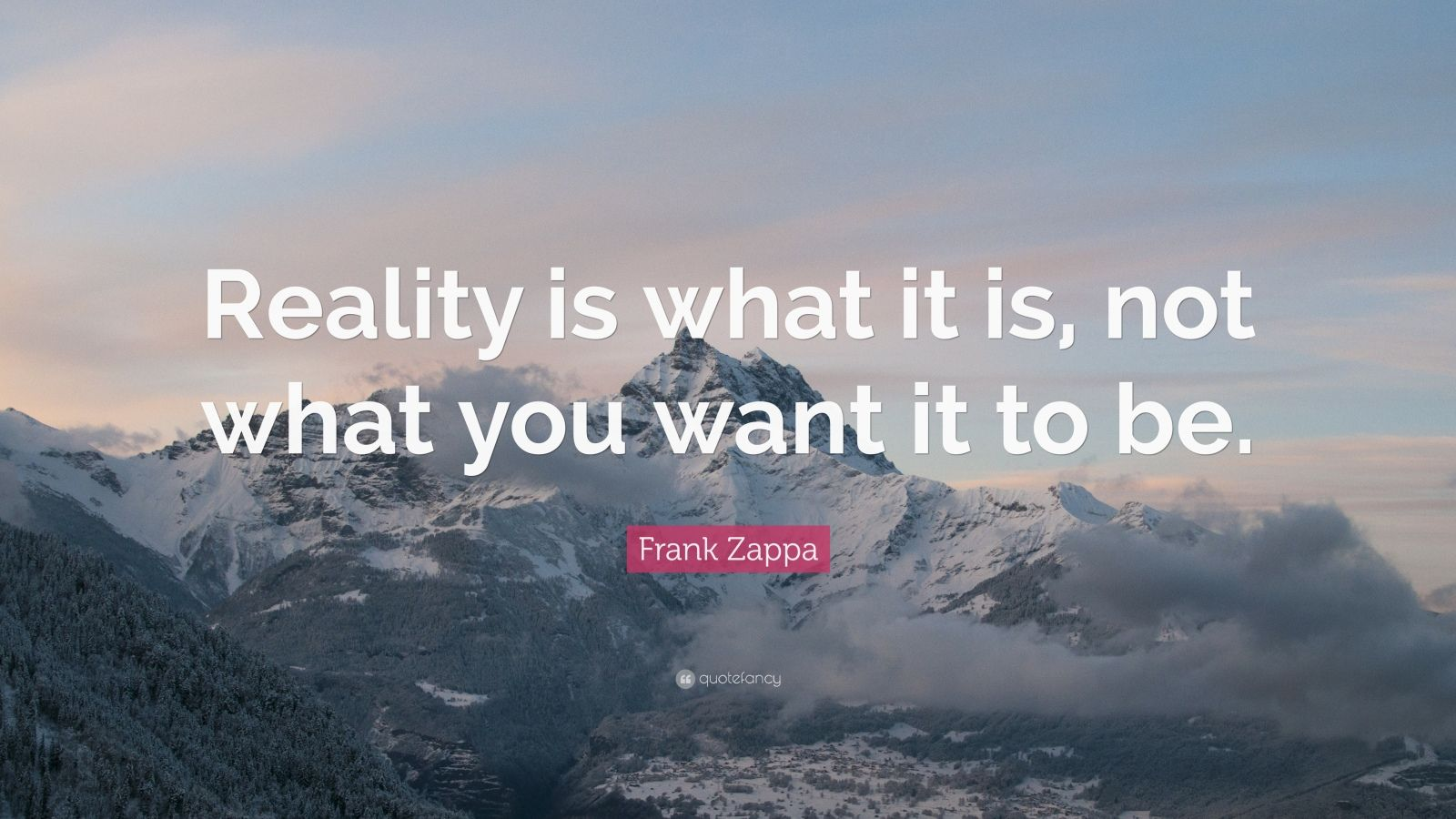 "Frank Zappa Quote: ""Reality is what it is, not what you want it to be."""