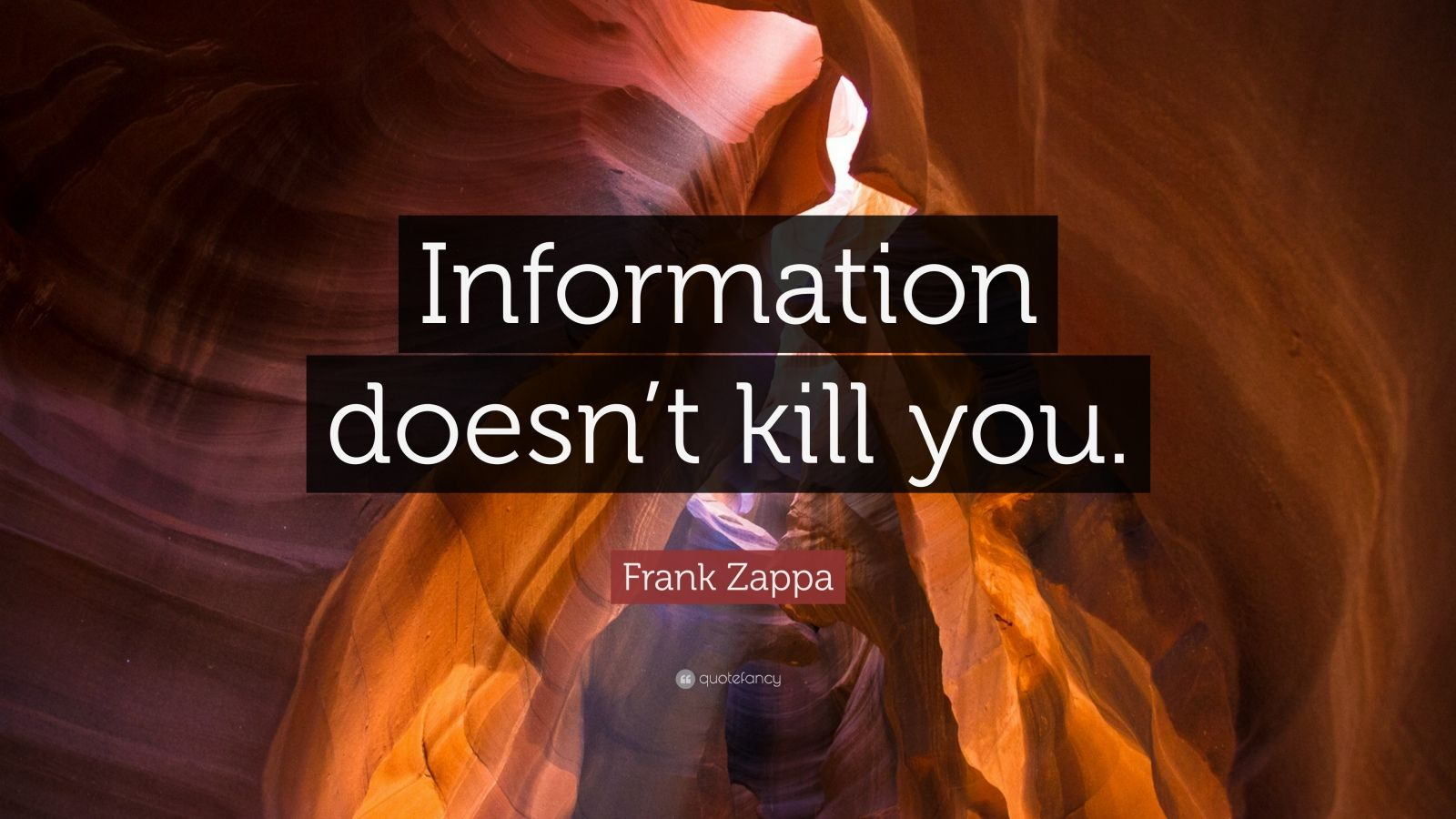 """Frank Zappa Quote: """"Information doesn't kill you."""""""