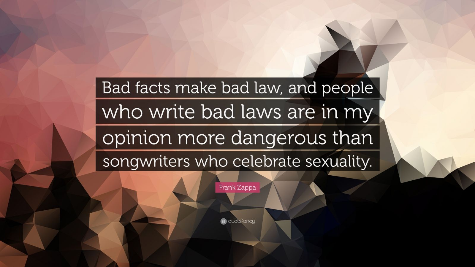 """Frank Zappa Quote: """"Bad facts make bad law, and people who write bad laws are in my opinion more dangerous than songwriters who celebrate sexuality."""""""