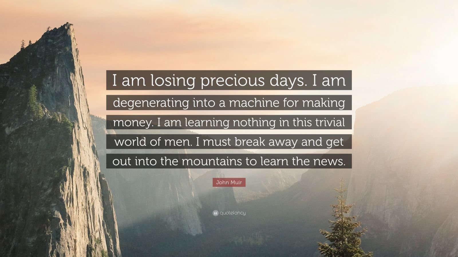 """John Muir Quote: """"I am losing precious days. I am degenerating into a machine for making money. I am learning nothing in this trivial world of men. I must break away and get out into the mountains to learn the news."""""""
