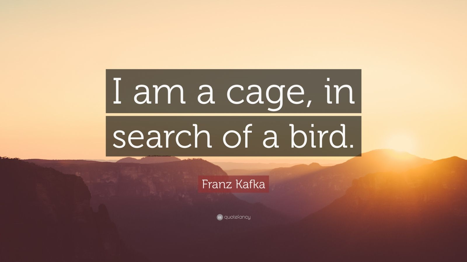 "Franz Kafka Quote: ""I am a cage, in search of a bird."""