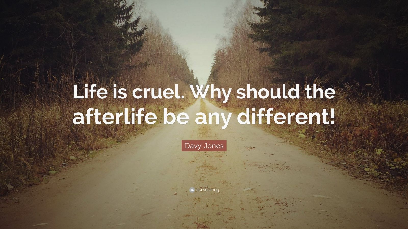 """Davy Jones Quote: """"Life is cruel. Why should the afterlife be any different!"""""""