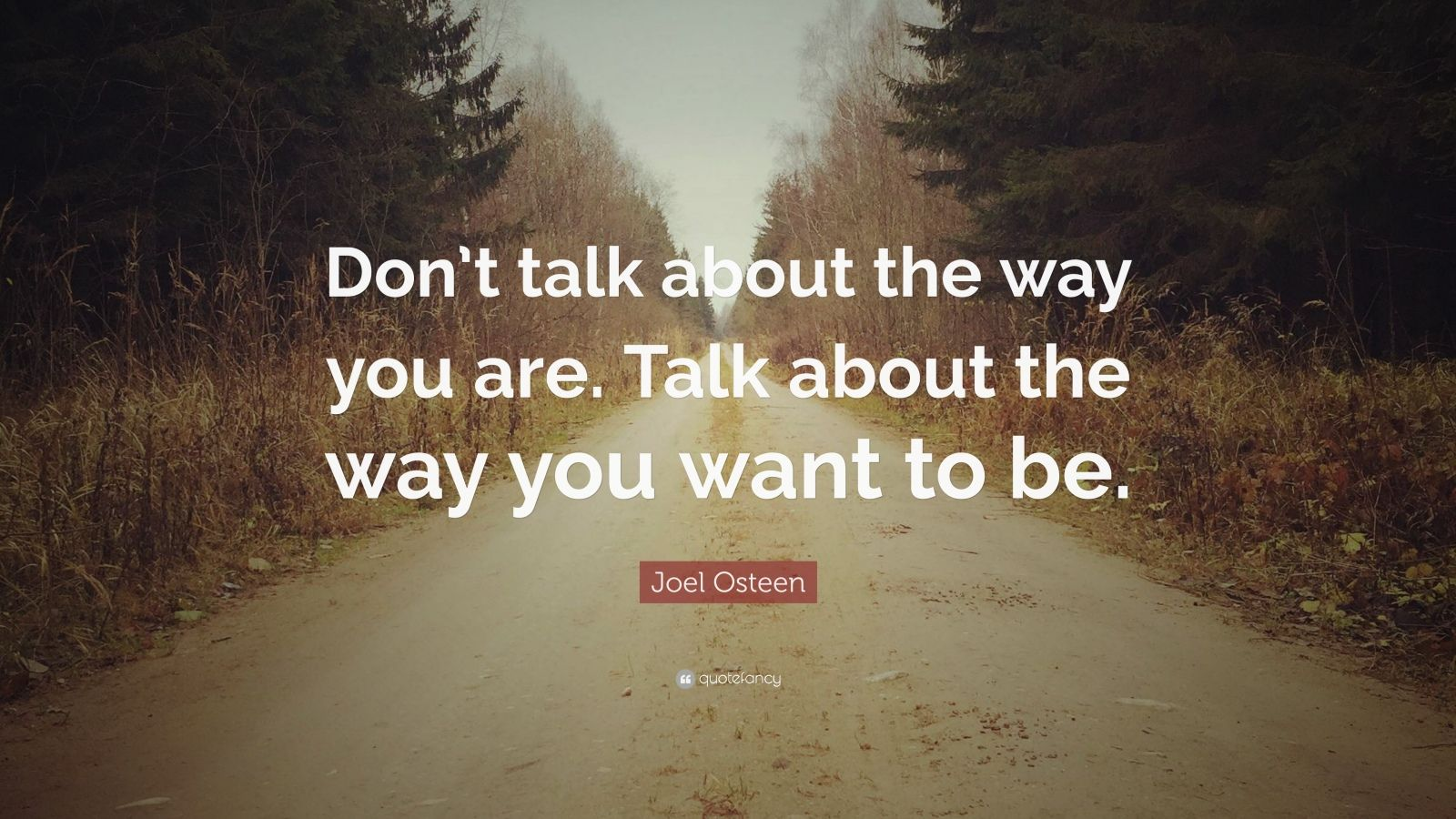 "Joel Osteen Quote: ""Don't talk about the way you are. Talk about the way you want to be."""