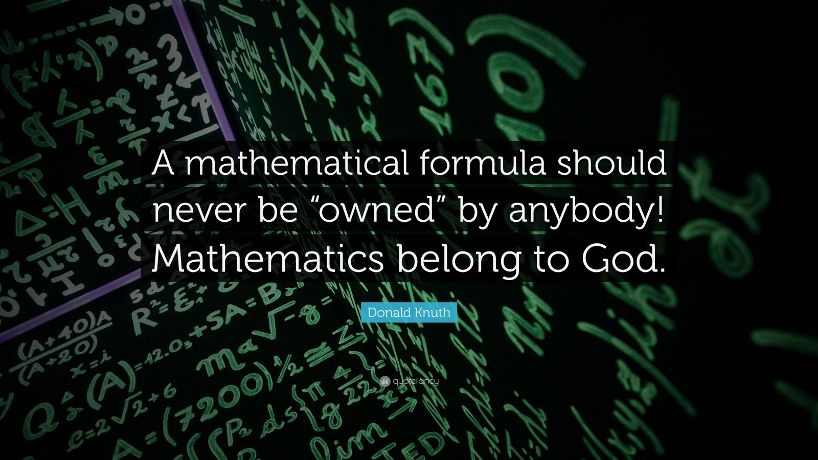 "Donald Knuth Quote: ""A mathematical formula should never be ""owned"" by anybody! Mathematics belong to God."""