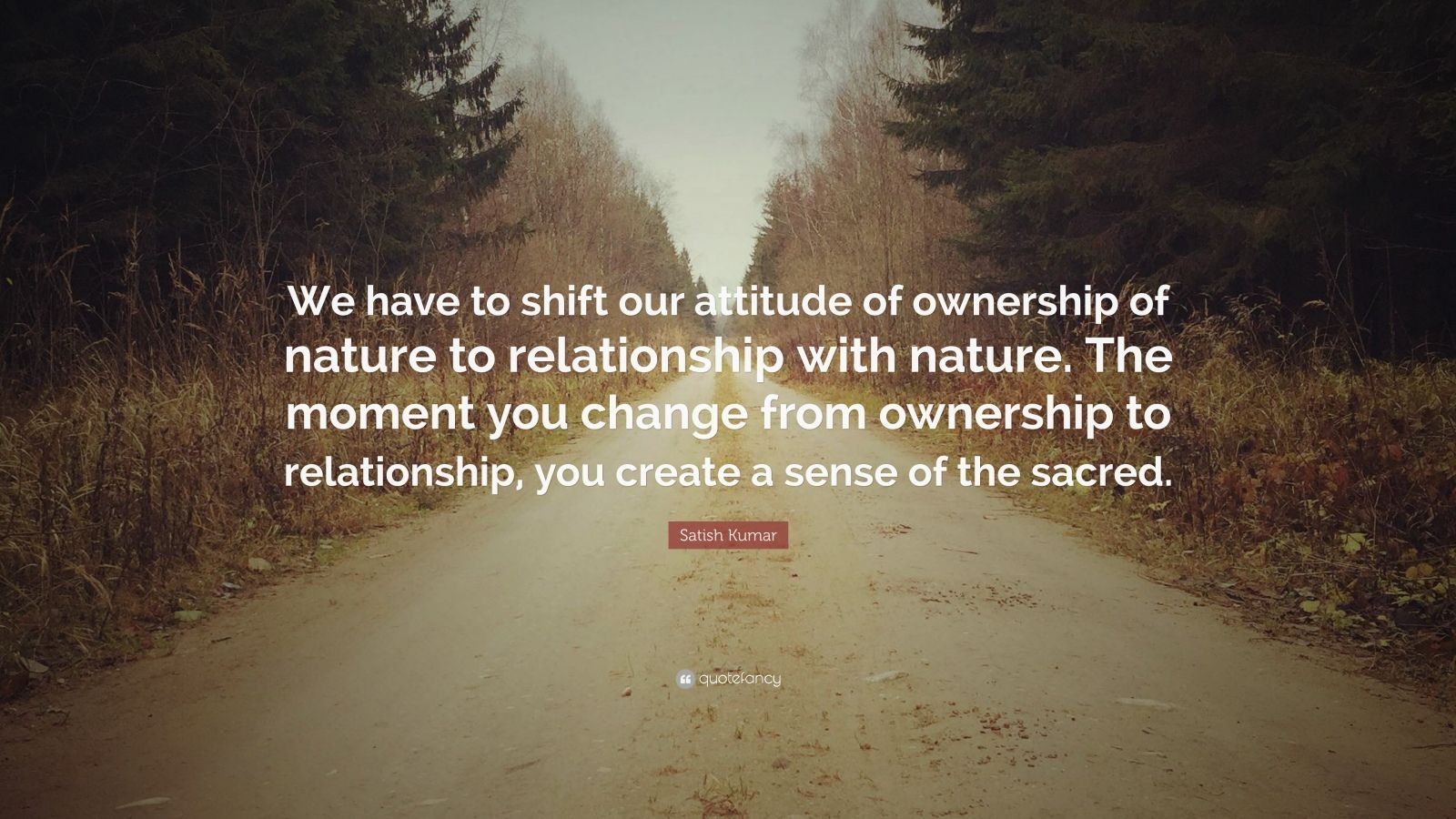 """Satish Kumar Quote: """"We have to shift our attitude of ownership of nature to relationship with nature. The moment you change from ownership to relationship, you create a sense of the sacred."""""""