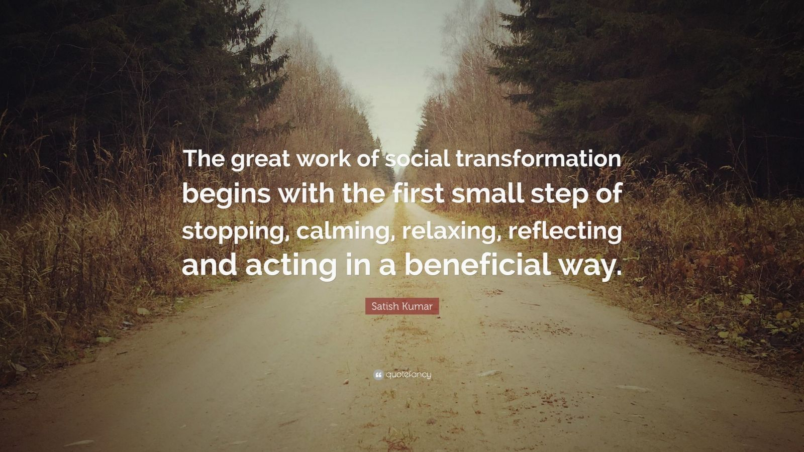"Satish Kumar Quote: ""The great work of social transformation begins with the first small step of stopping, calming, relaxing, reflecting and acting in a beneficial way."""