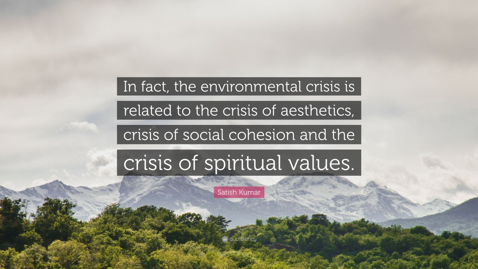 """Satish Kumar Quote: """"In fact, the environmental crisis is related to the crisis of aesthetics, crisis of social cohesion and the crisis of spiritual values."""""""