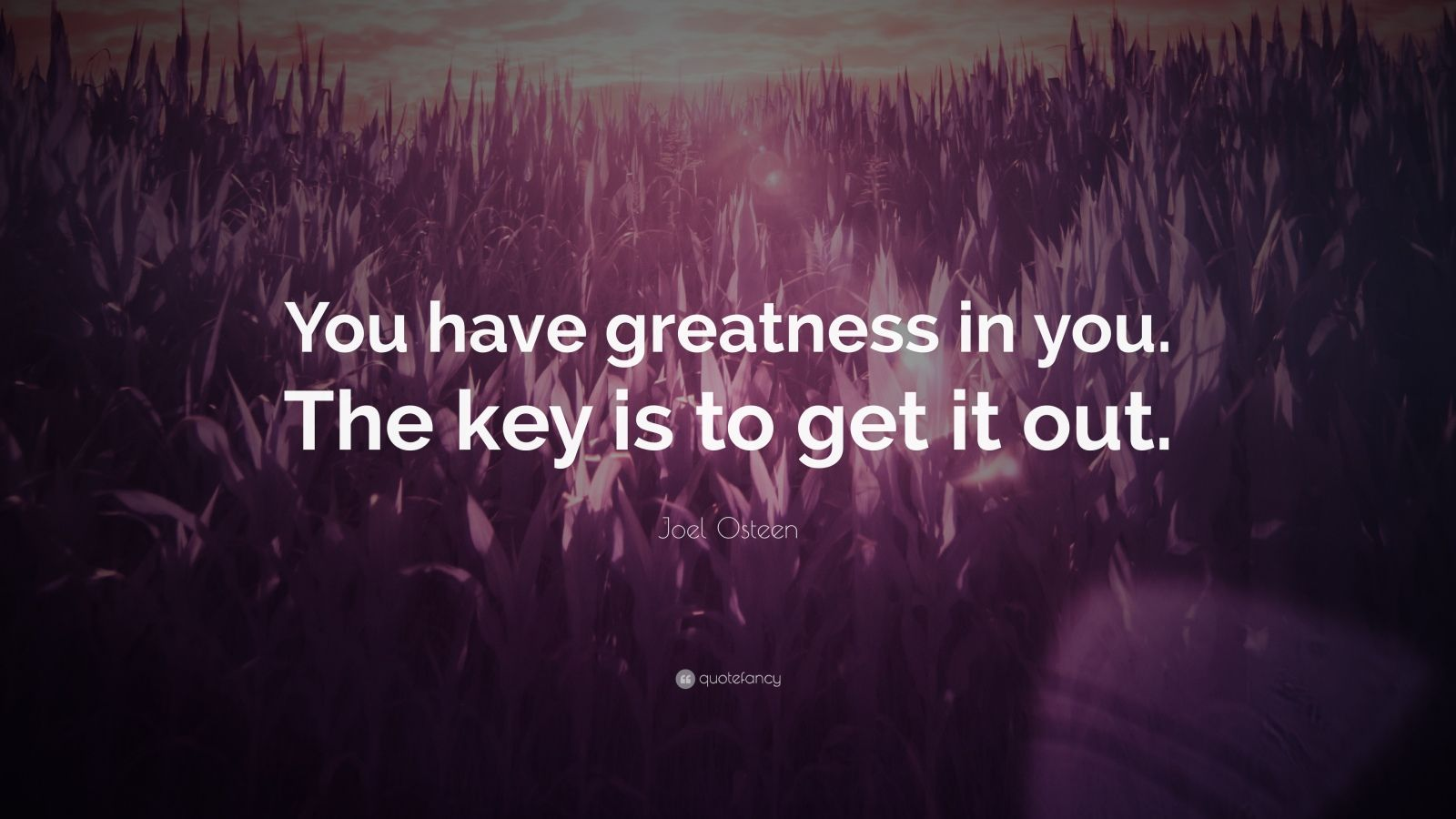 """Joel Osteen Quote: """"You have greatness in you. The key is to get it out."""""""