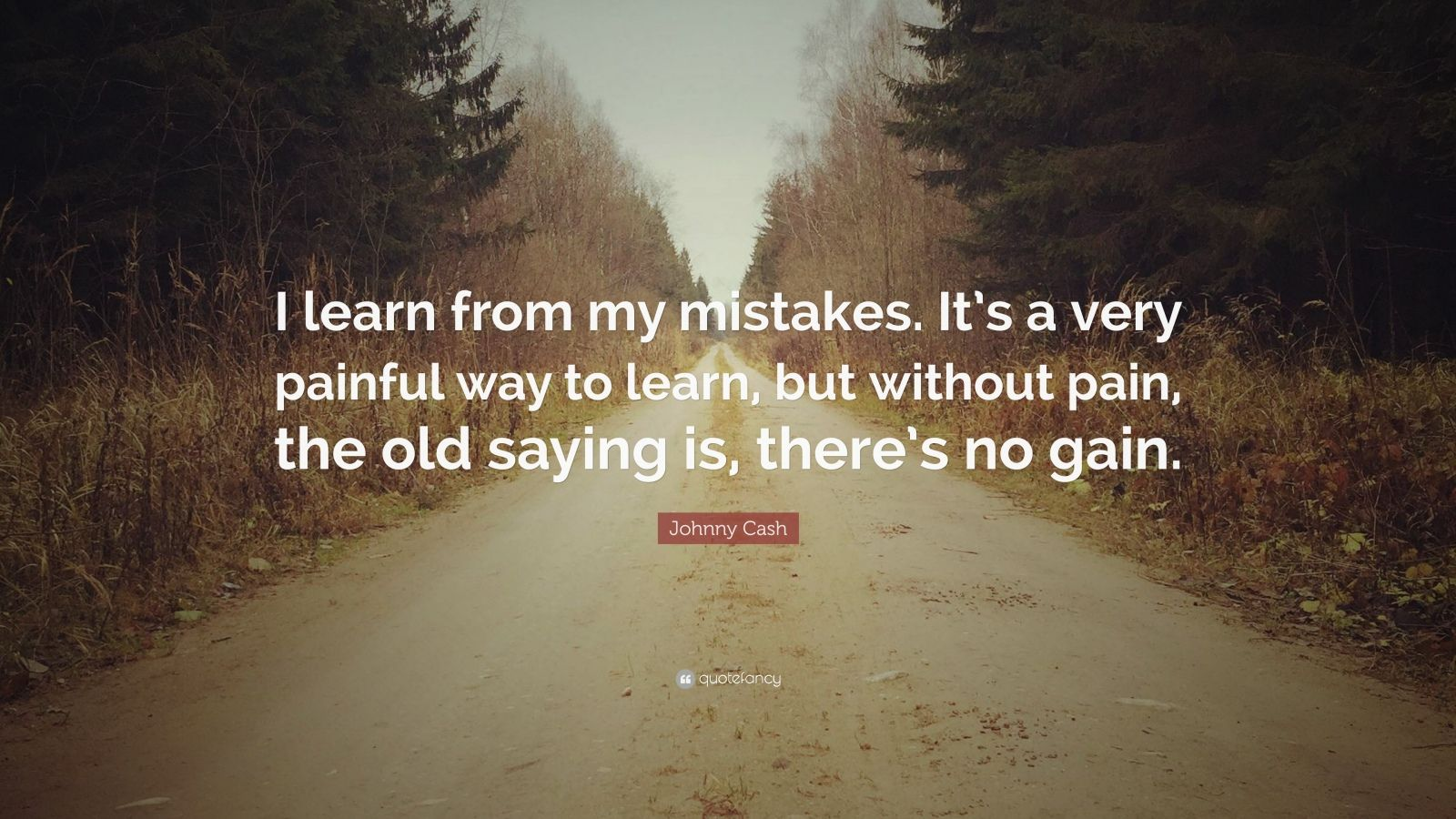 "Johnny Cash Quote: ""I learn from my mistakes. It's a very painful way to learn, but without pain, the old saying is, there's no gain."""