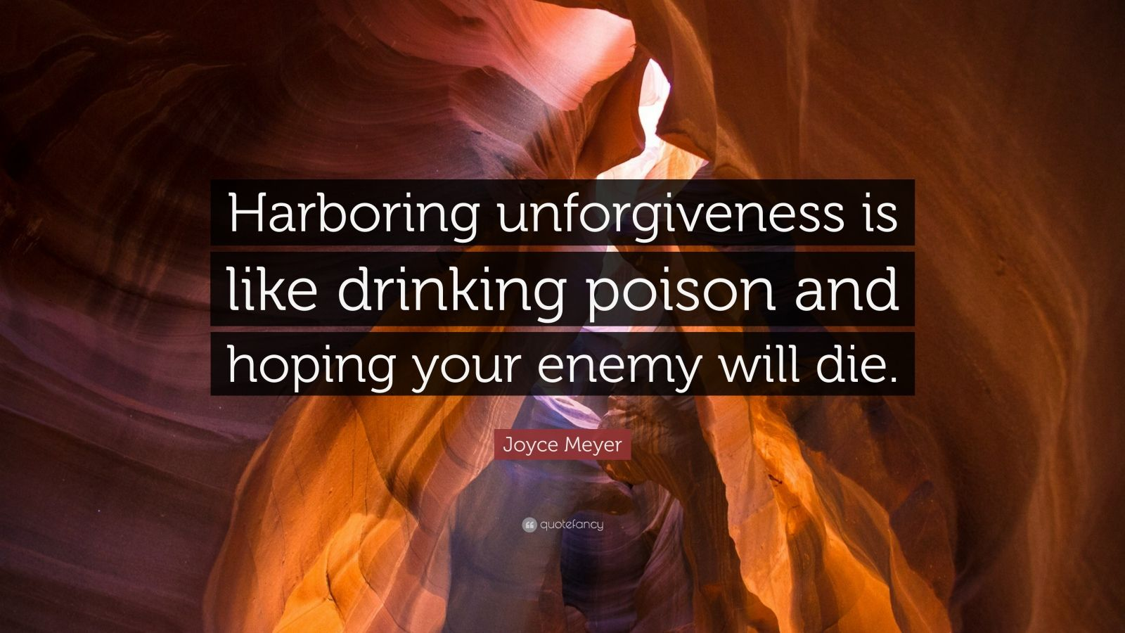 """Joyce Meyer Quote: """"Harboring unforgiveness is like drinking poison and hoping your enemy will die."""""""