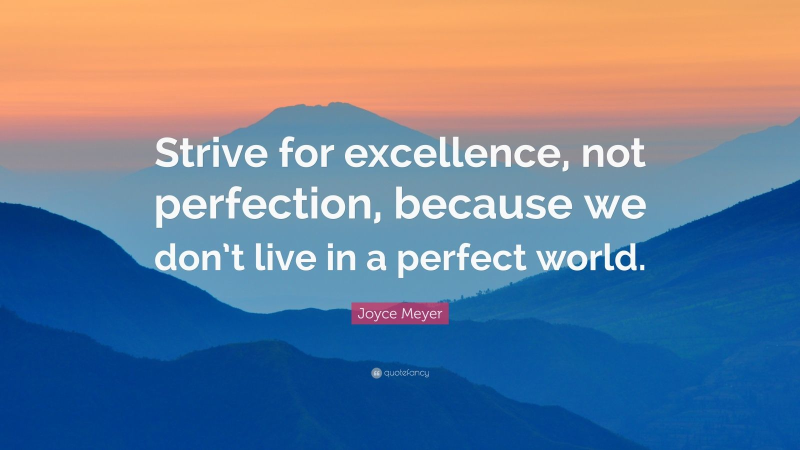 "Joyce Meyer Quote: ""Strive for excellence, not perfection, because we don't live in a perfect world."""