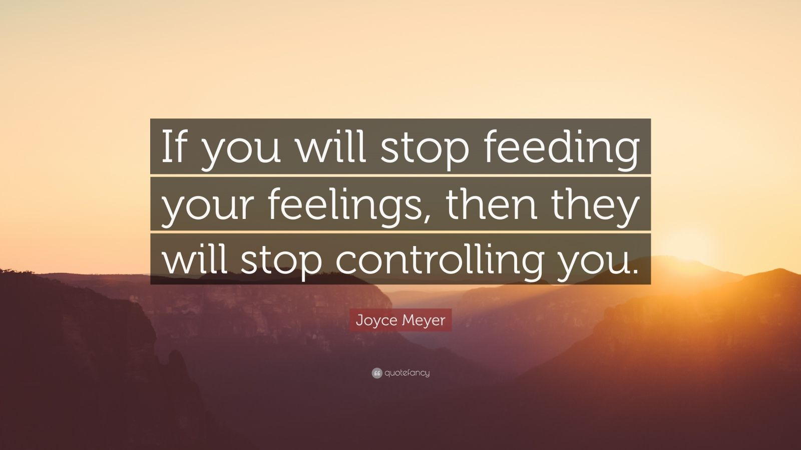 "Joyce Meyer Quote: ""If You Will Stop Feeding Your Feelings"