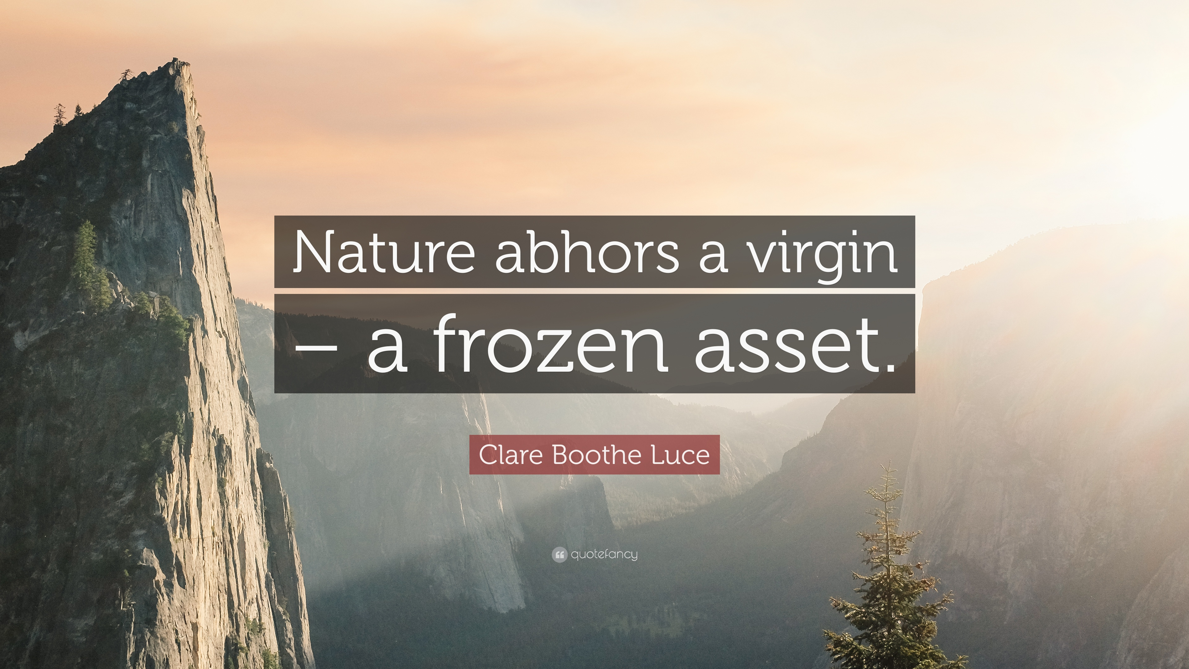 Clare Boothe Luce Quote Nature Abhors A Virgin A Frozen Asset Images, Photos, Reviews