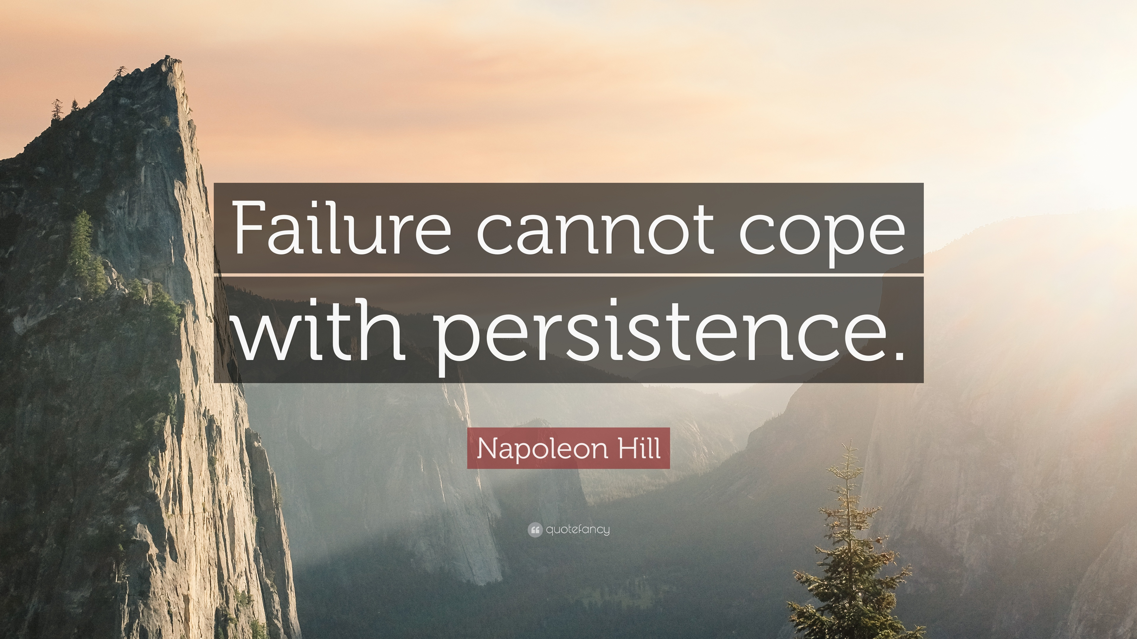 "Napoleon Hill Quote: ""Failure cannot cope with persistence."" (12 ..."
