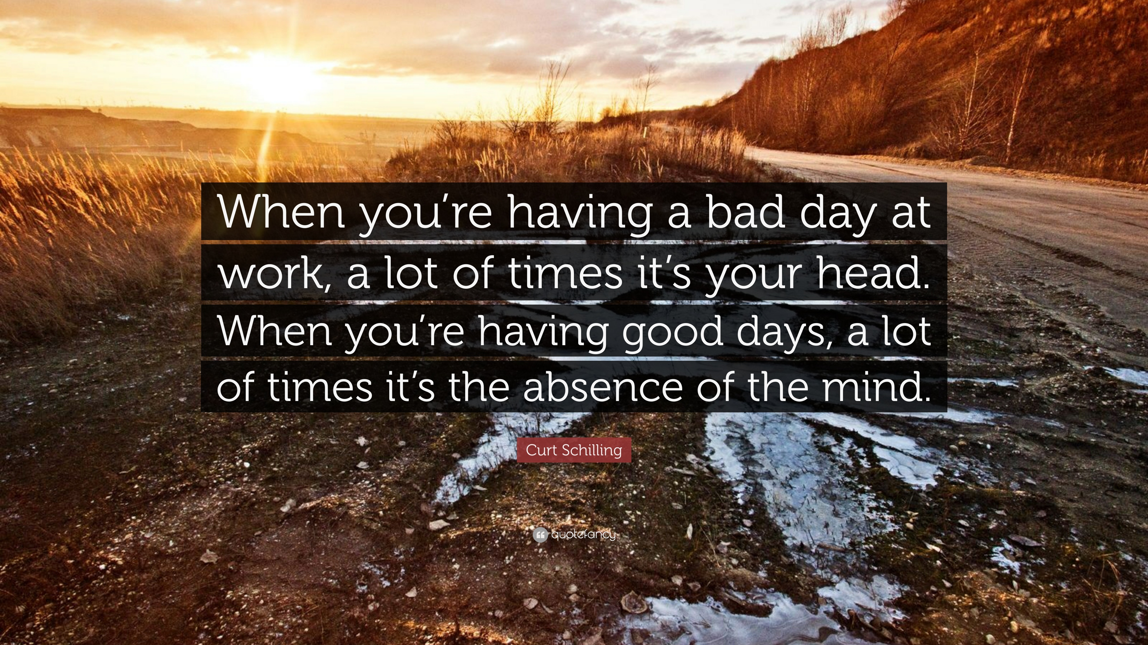 """Curt Schilling Quote: """"When you\'re having a bad day at work ..."""