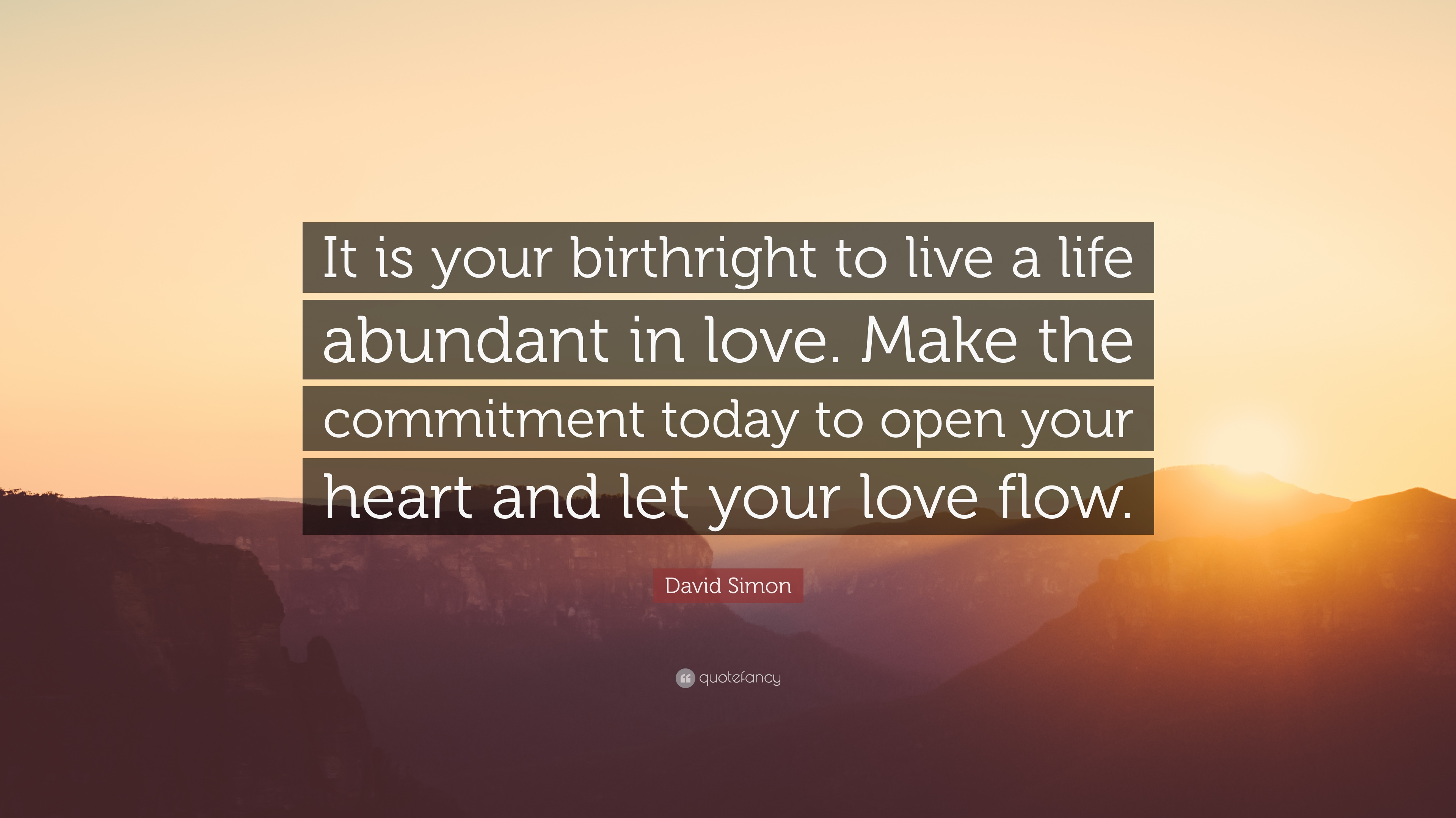"""David Simon Quote: """"It Is Your Birthright To Live A Life"""