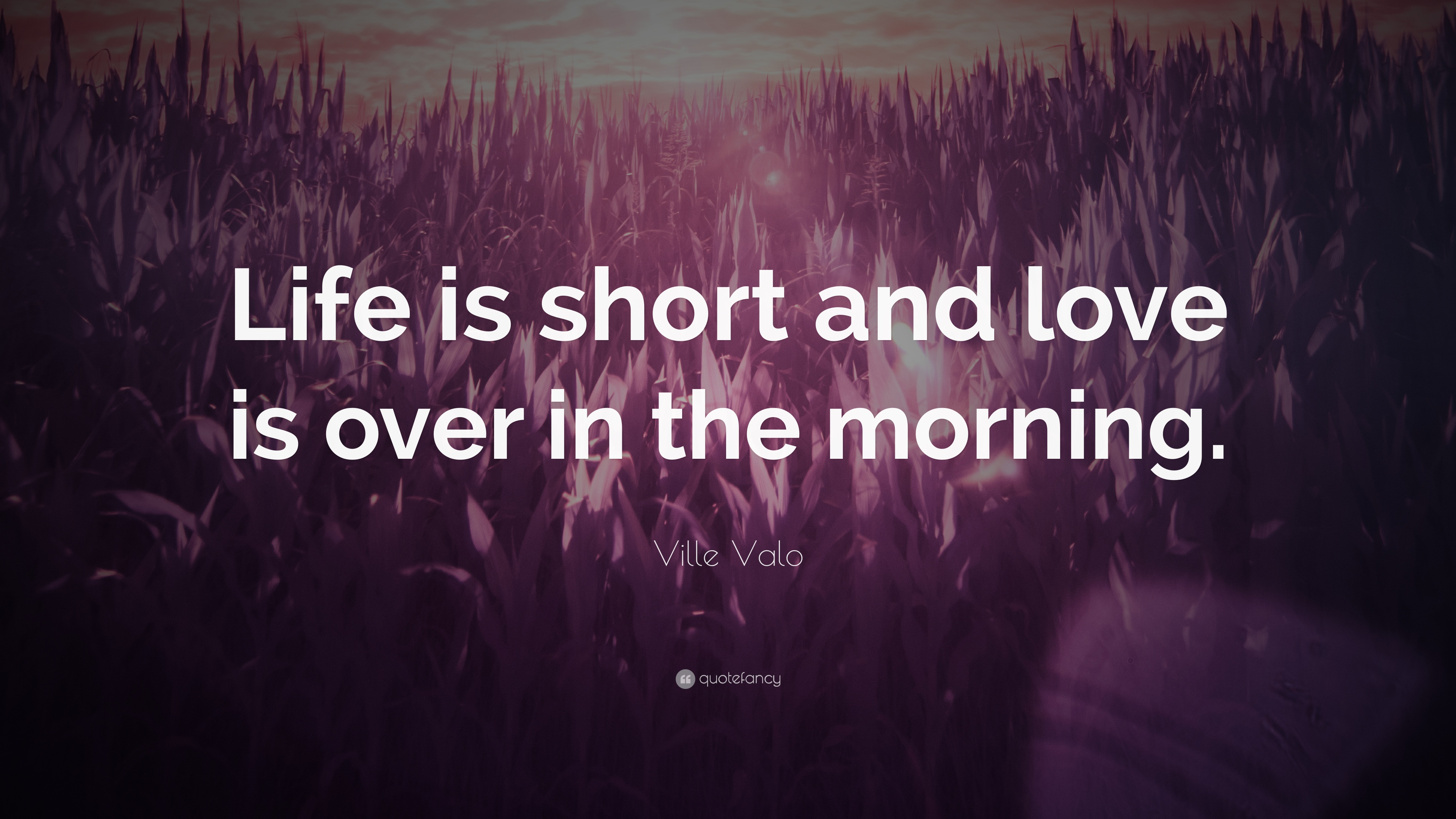 "Ville Valo Quote ""Life is short and love is over in the morning"
