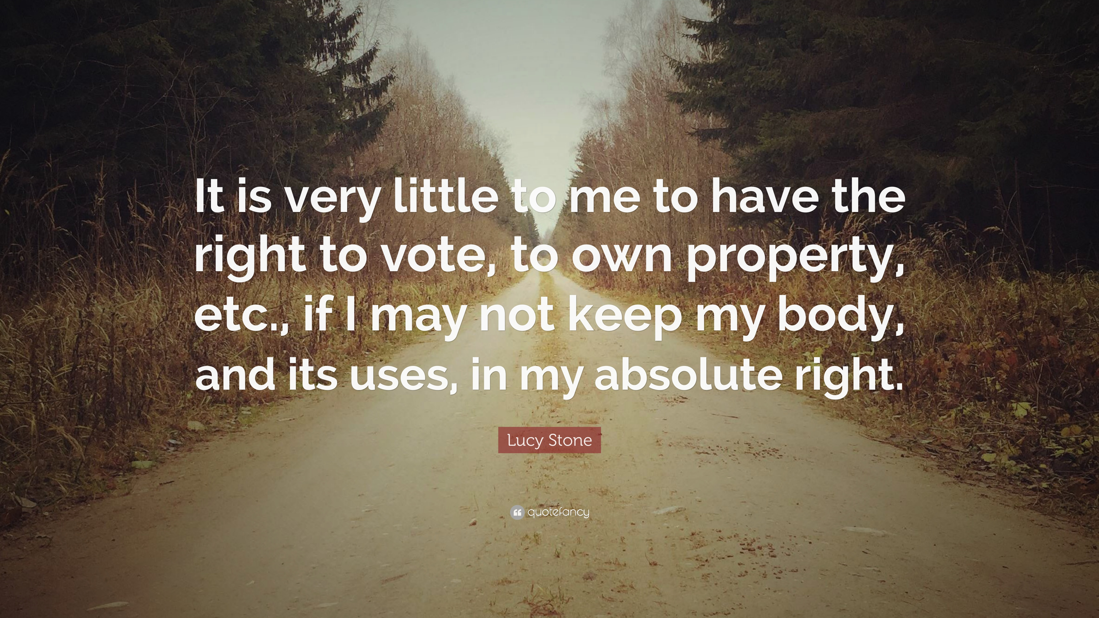 """Lucy Stone Quote: """"It Is Very Little To Me To Have The"""