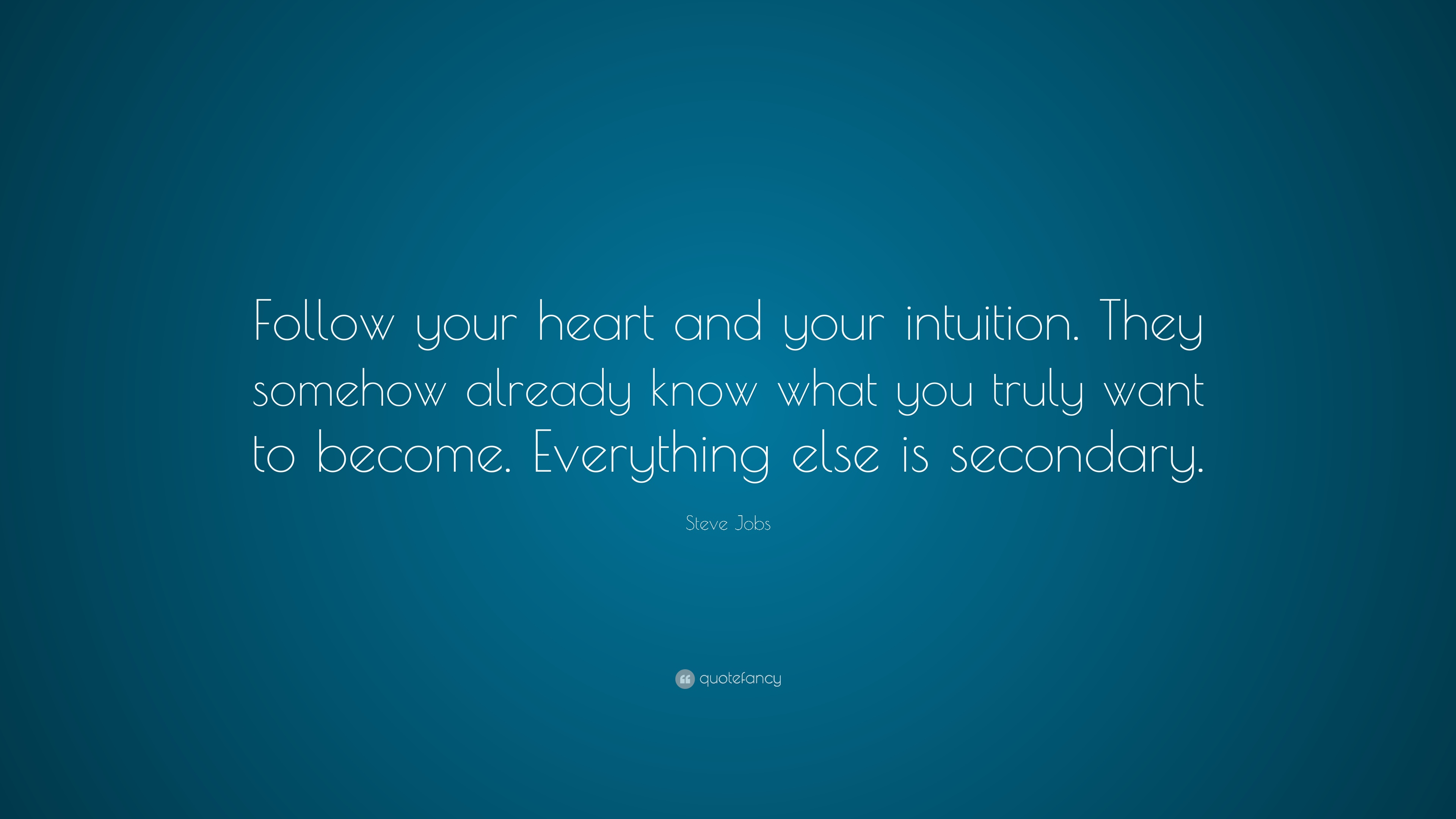 """If You Want To Know Where Your Heart Is Look Where Your: Steve Jobs Quote: """"Follow Your Heart And Your Intuition"""