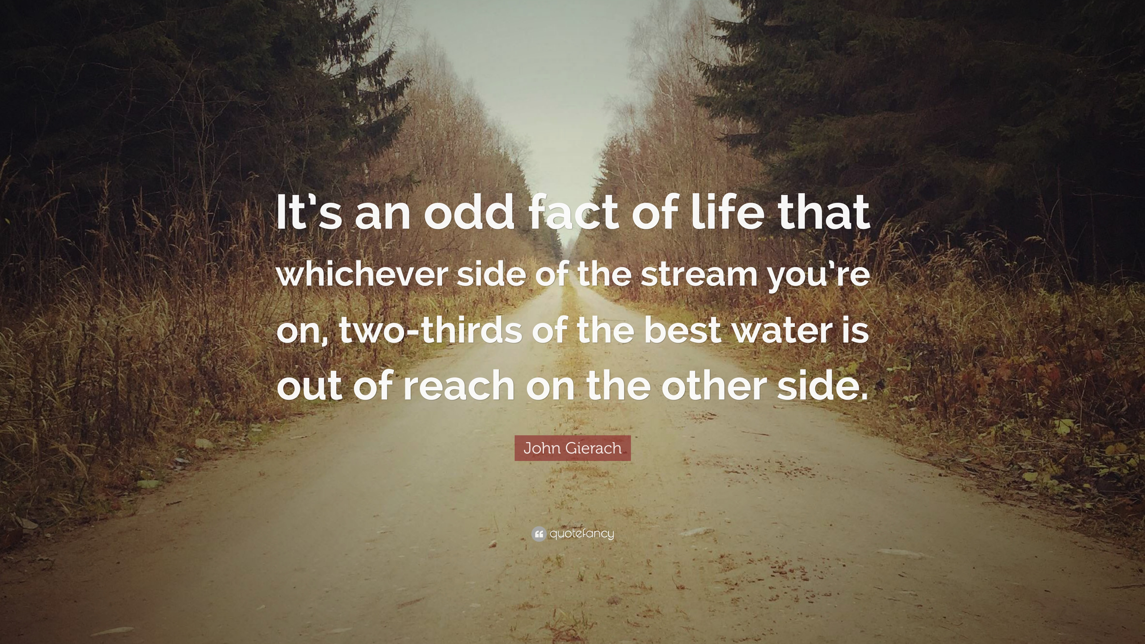 """John Gierach Quote: """"It's An Odd Fact Of Life That"""