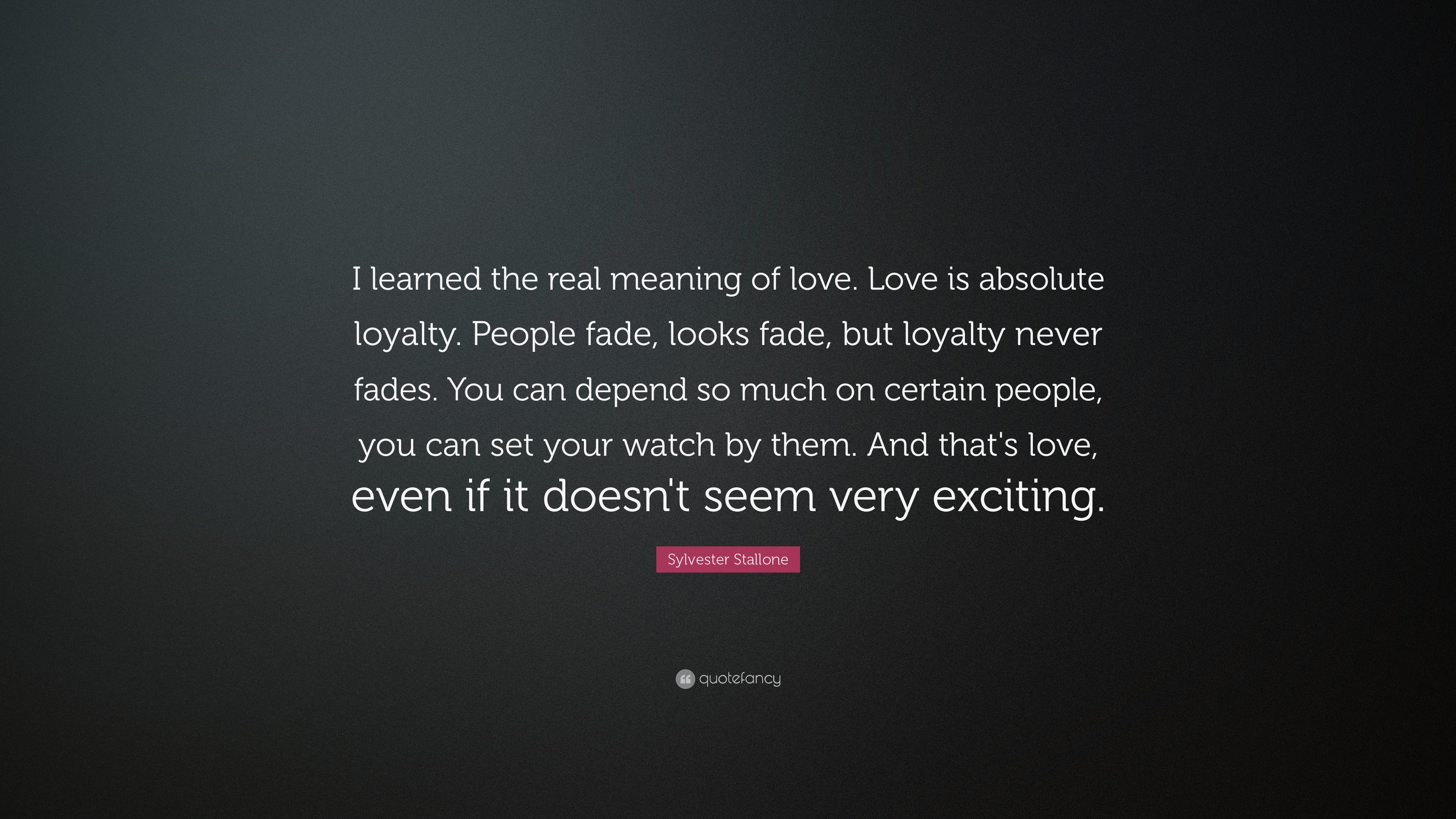 "Meaning Of Love Quotes Sylvester Stallone Quote ""I Learned The Real Meaning Of Love"