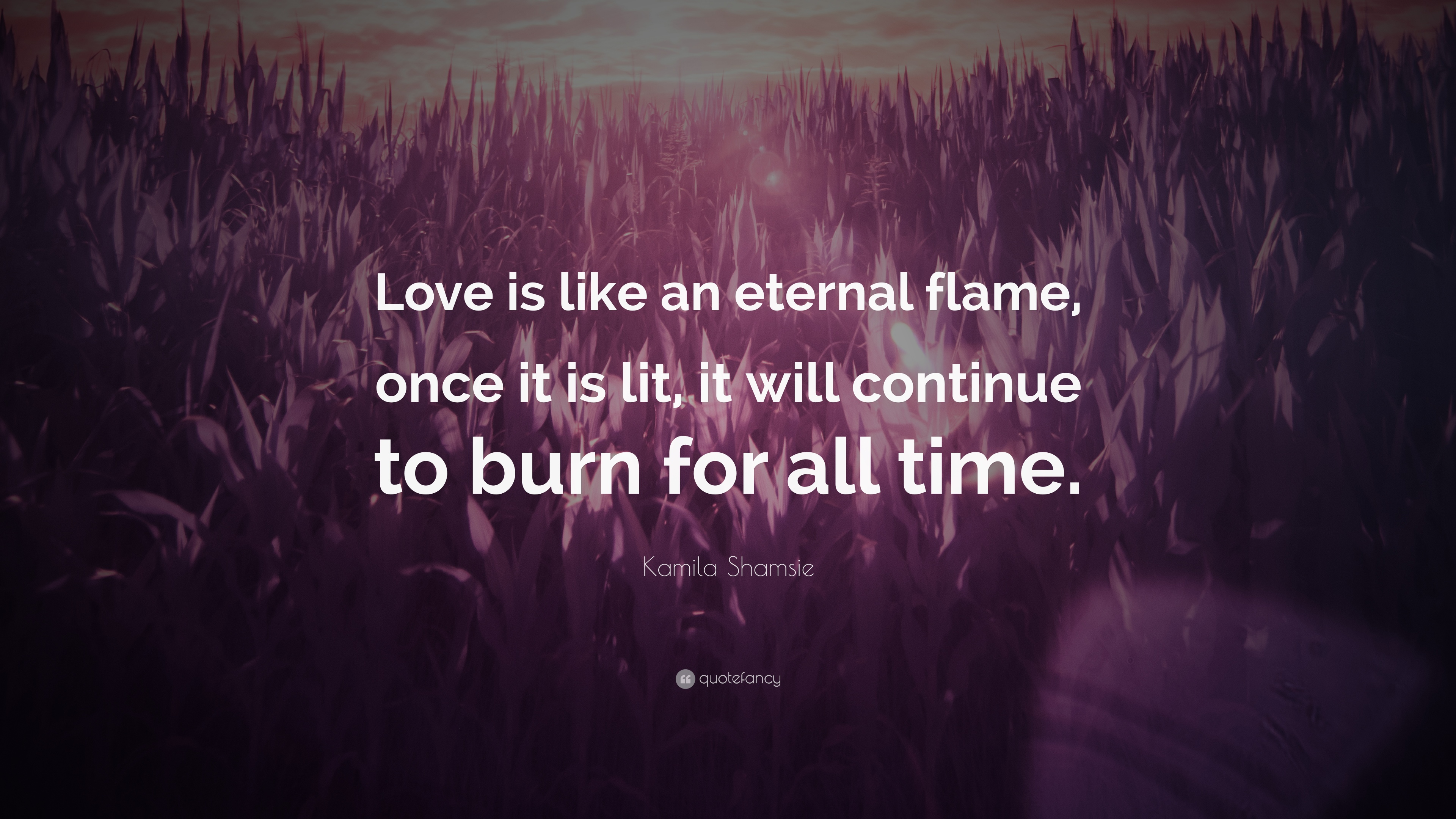 Kamila Shamsie Quote: U201cLove Is Like An Eternal Flame, Once It Is Lit