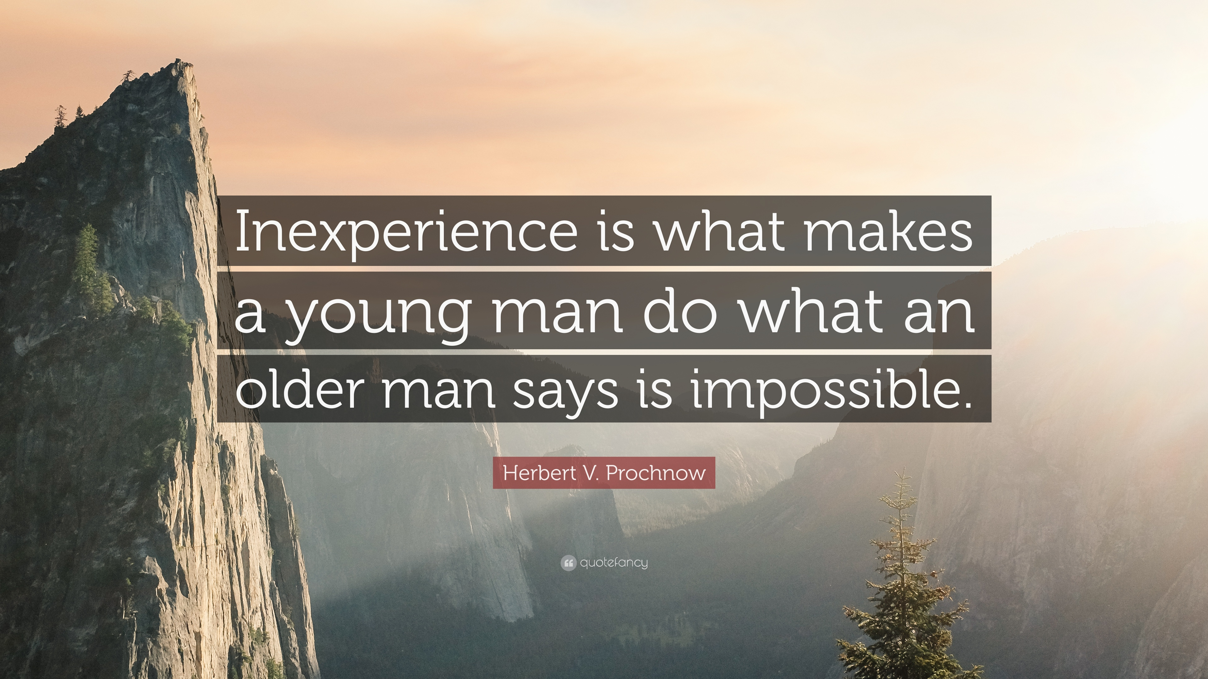 """Herbert V. Prochnow Quote: """"Inexperience Is What Makes A"""