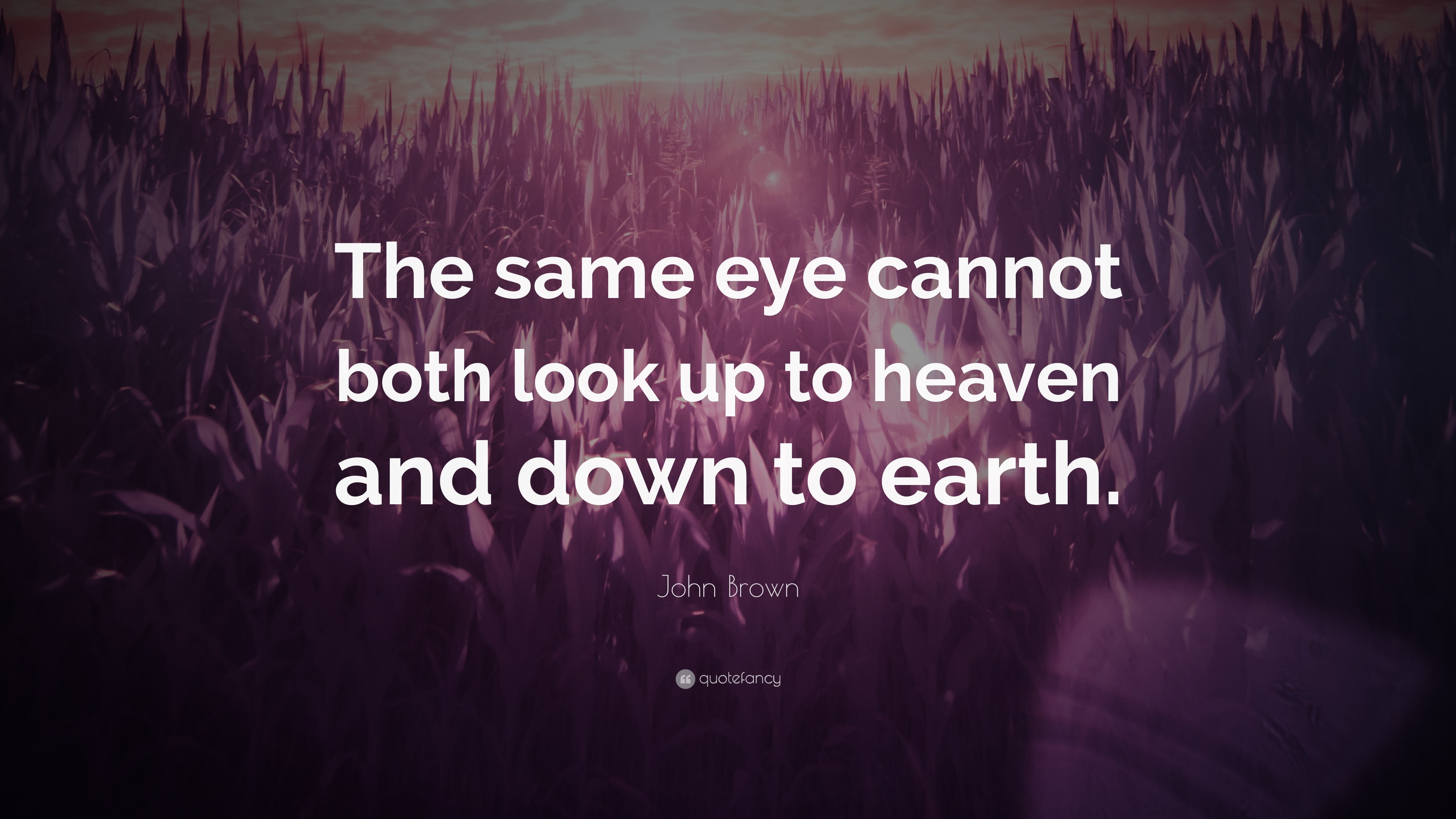 "John Brown Quote: ""The Same Eye Cannot Both Look Up To"