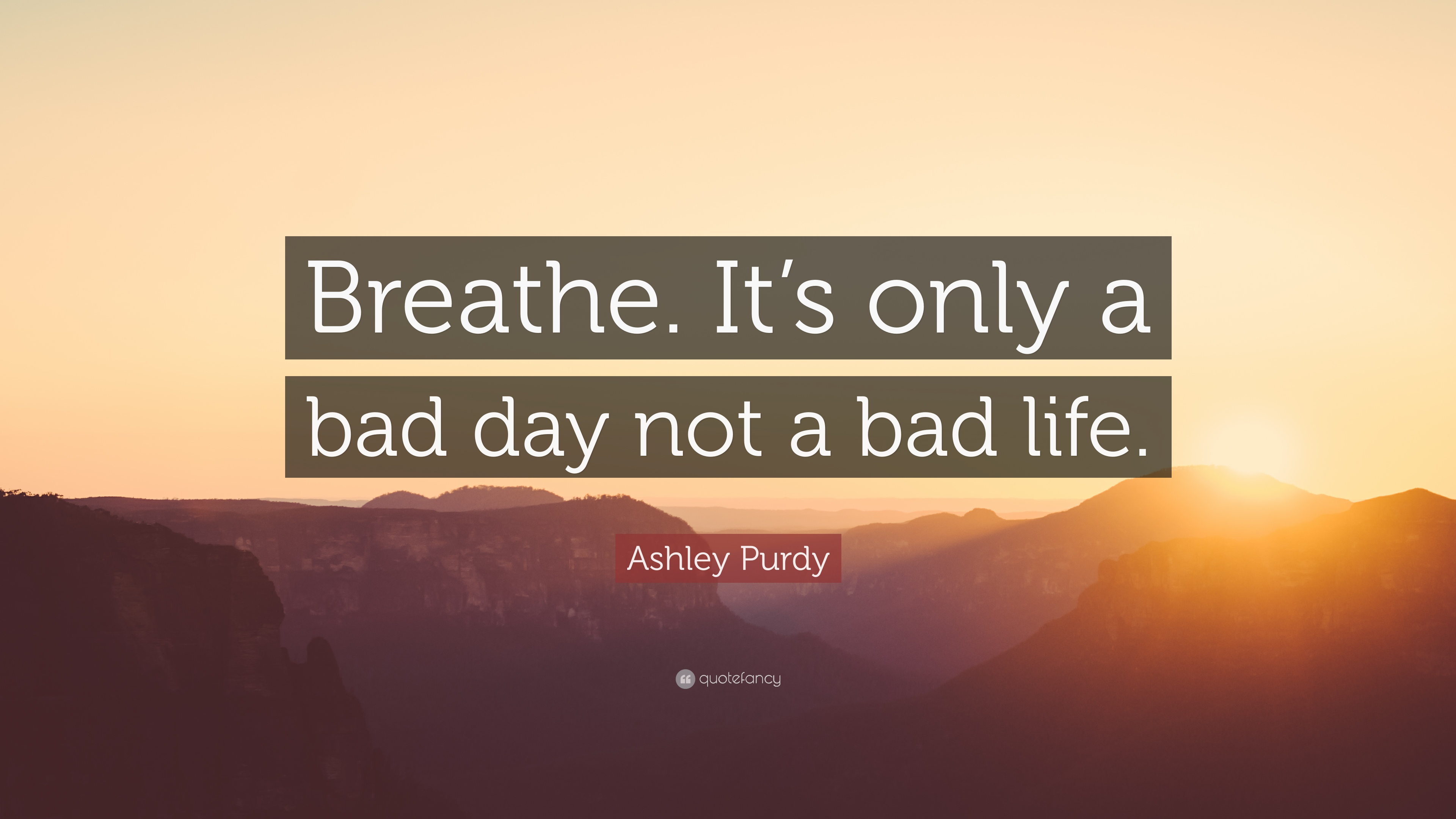 its a bad day not a bad life quote author