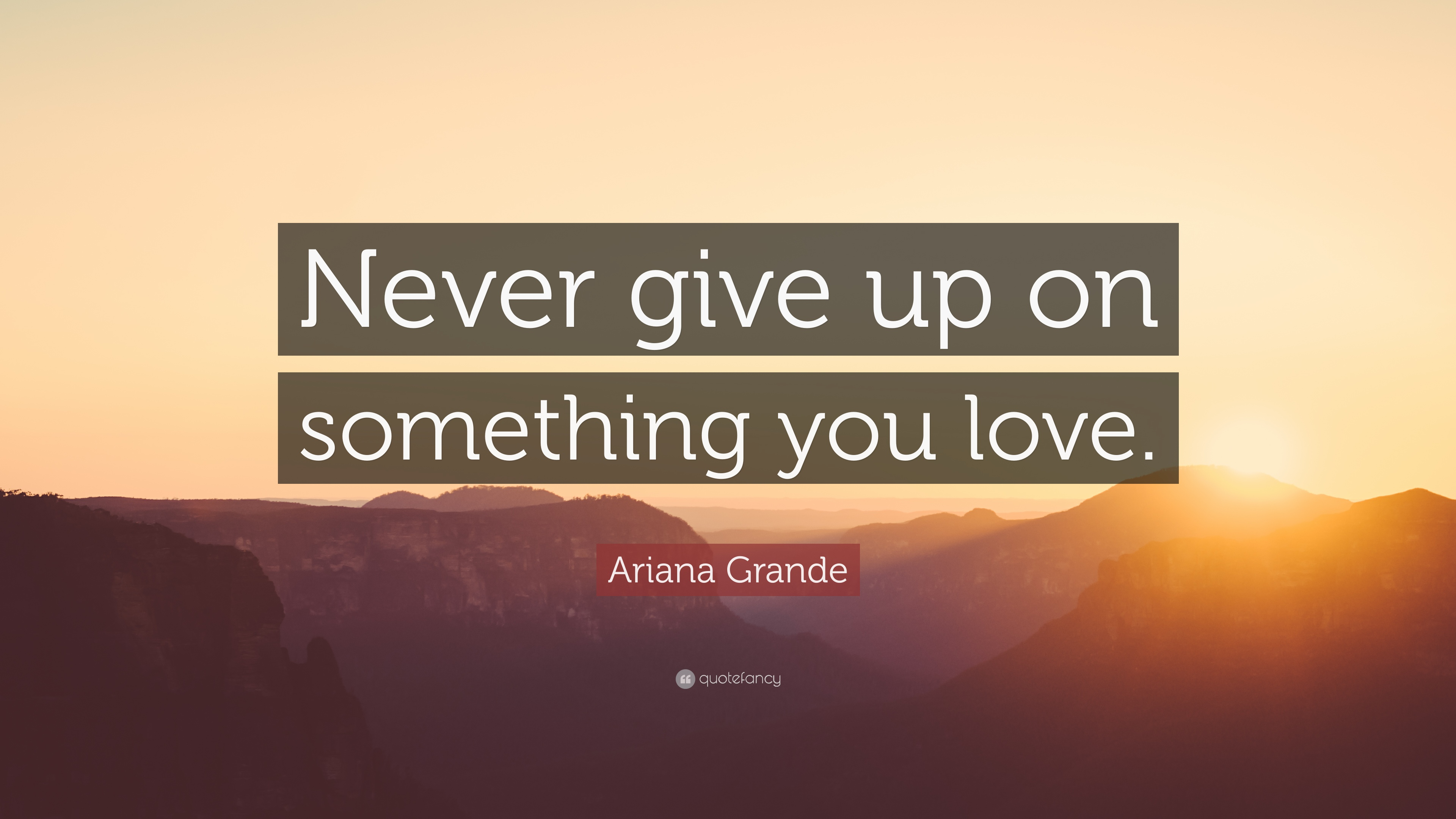 "Quotes Of Never Giving Up Ariana Grande Quote ""Never Give Up On Something You Love."" 12"