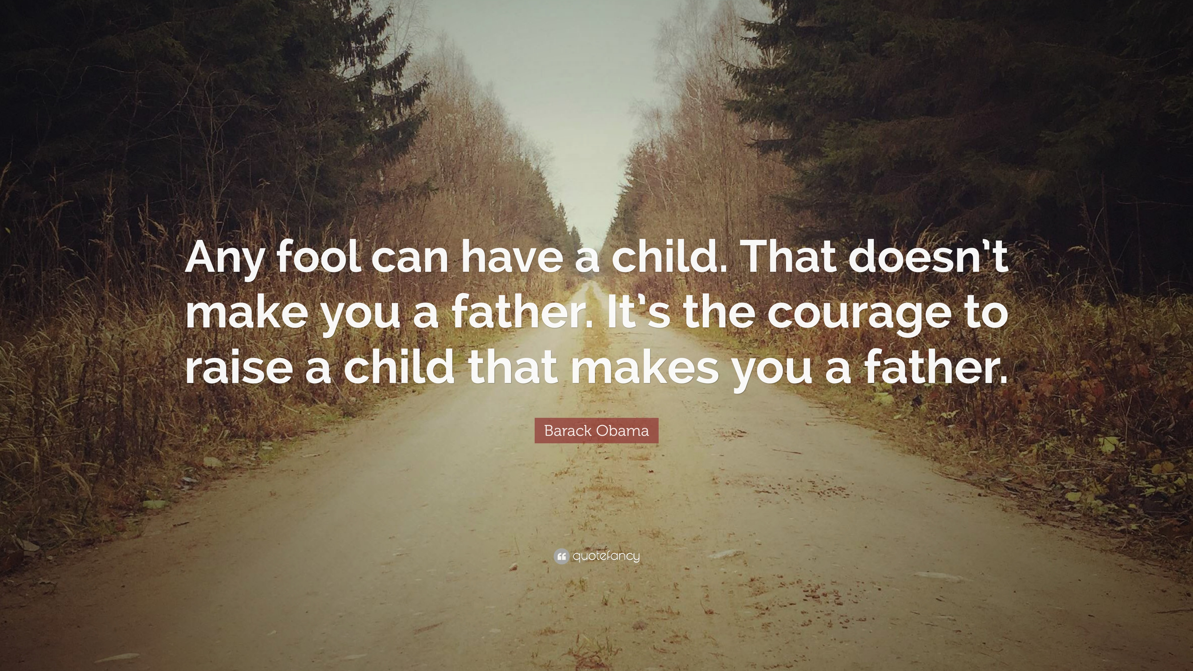 """Barack Obama Quote: """"Any Fool Can Have A Child. That Doesn"""