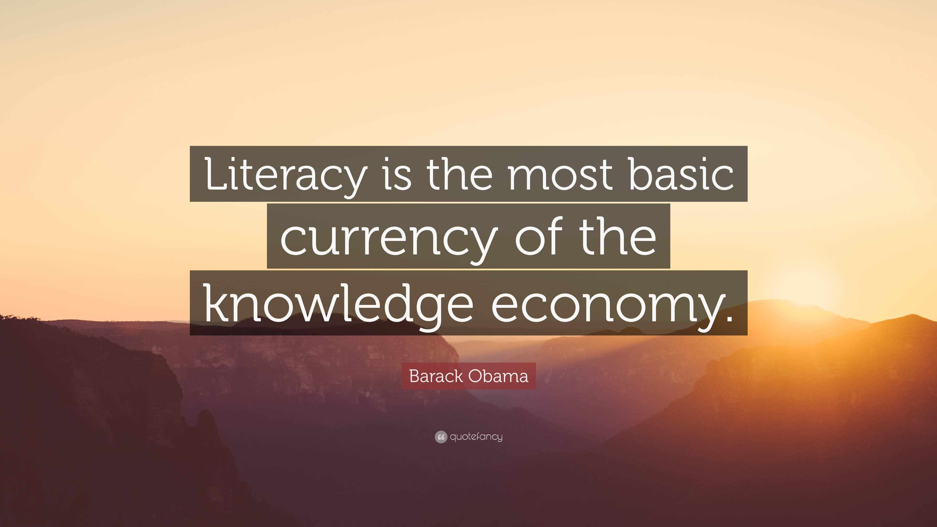 "Barack Obama Quote: ""Literacy is the most basic currency of the ..."