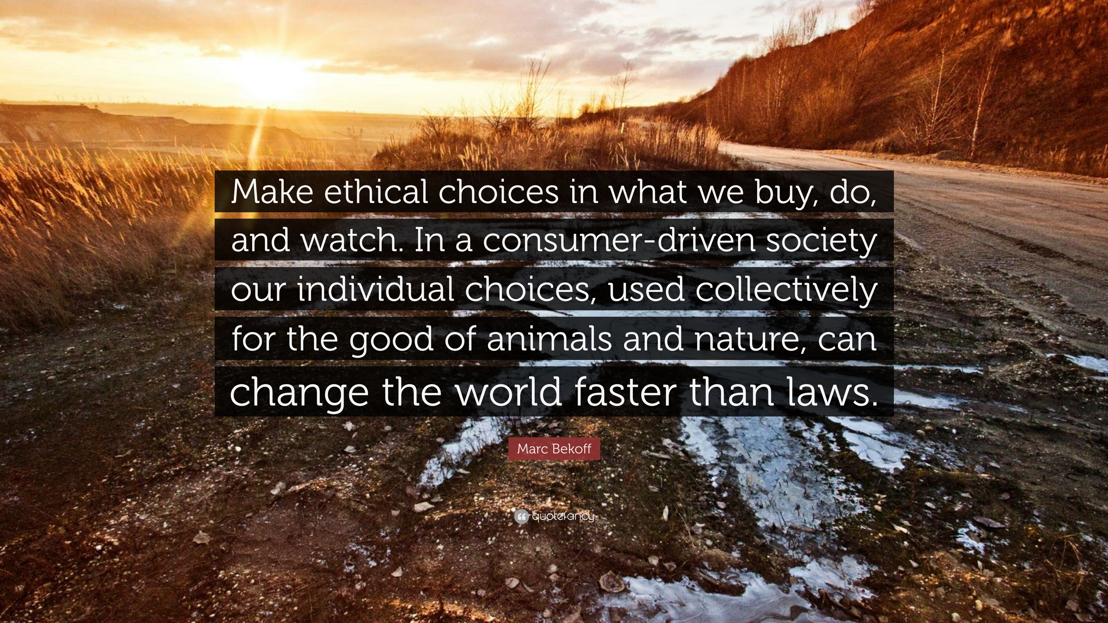 "Marc Bekoff Quote: ""Make ethical choices in what we buy, do, and ..."