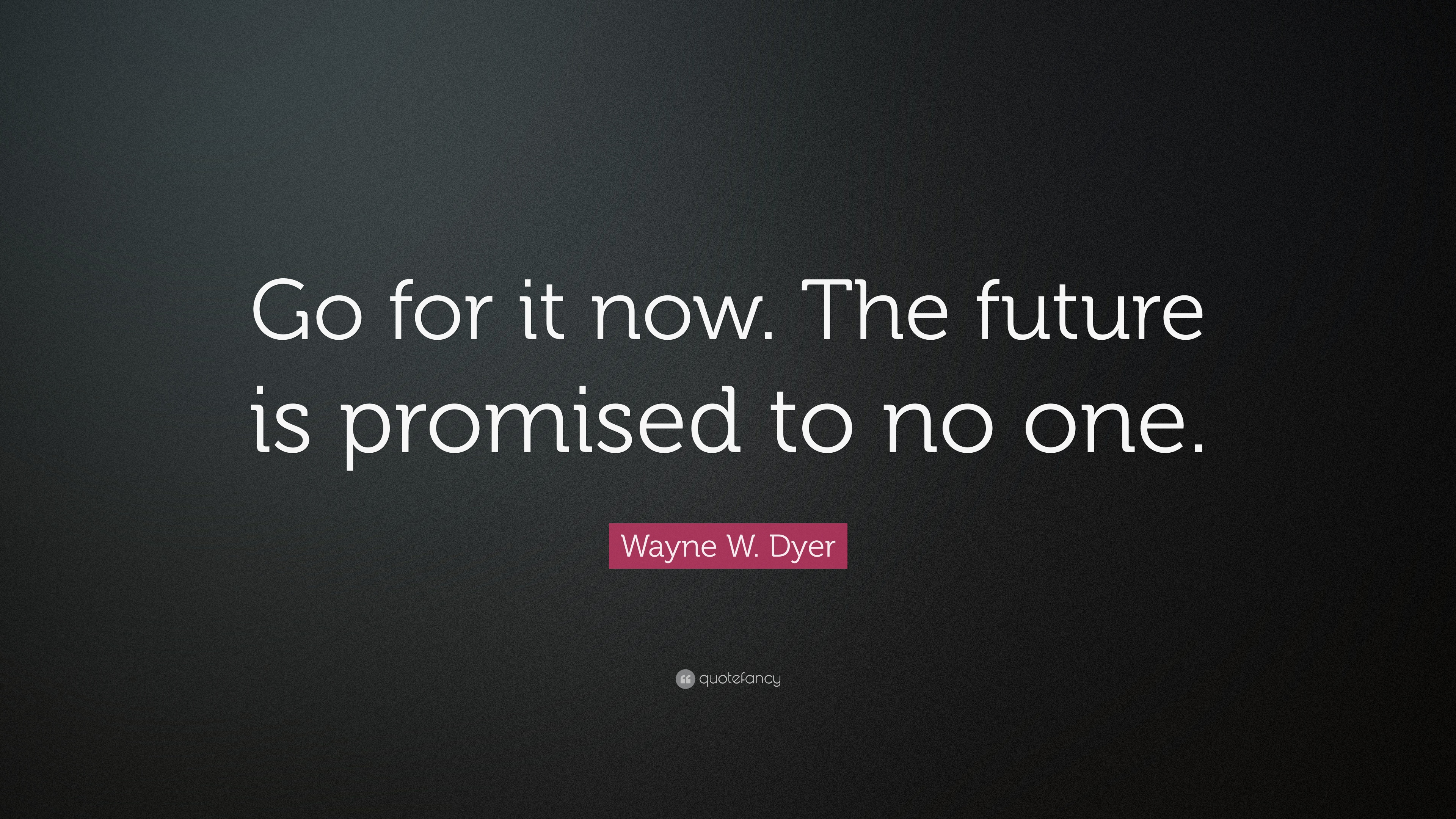 "The Future Is Now Quote Wayne Wdyer Quote ""Go For It Nowthe Future Is Promised To No"
