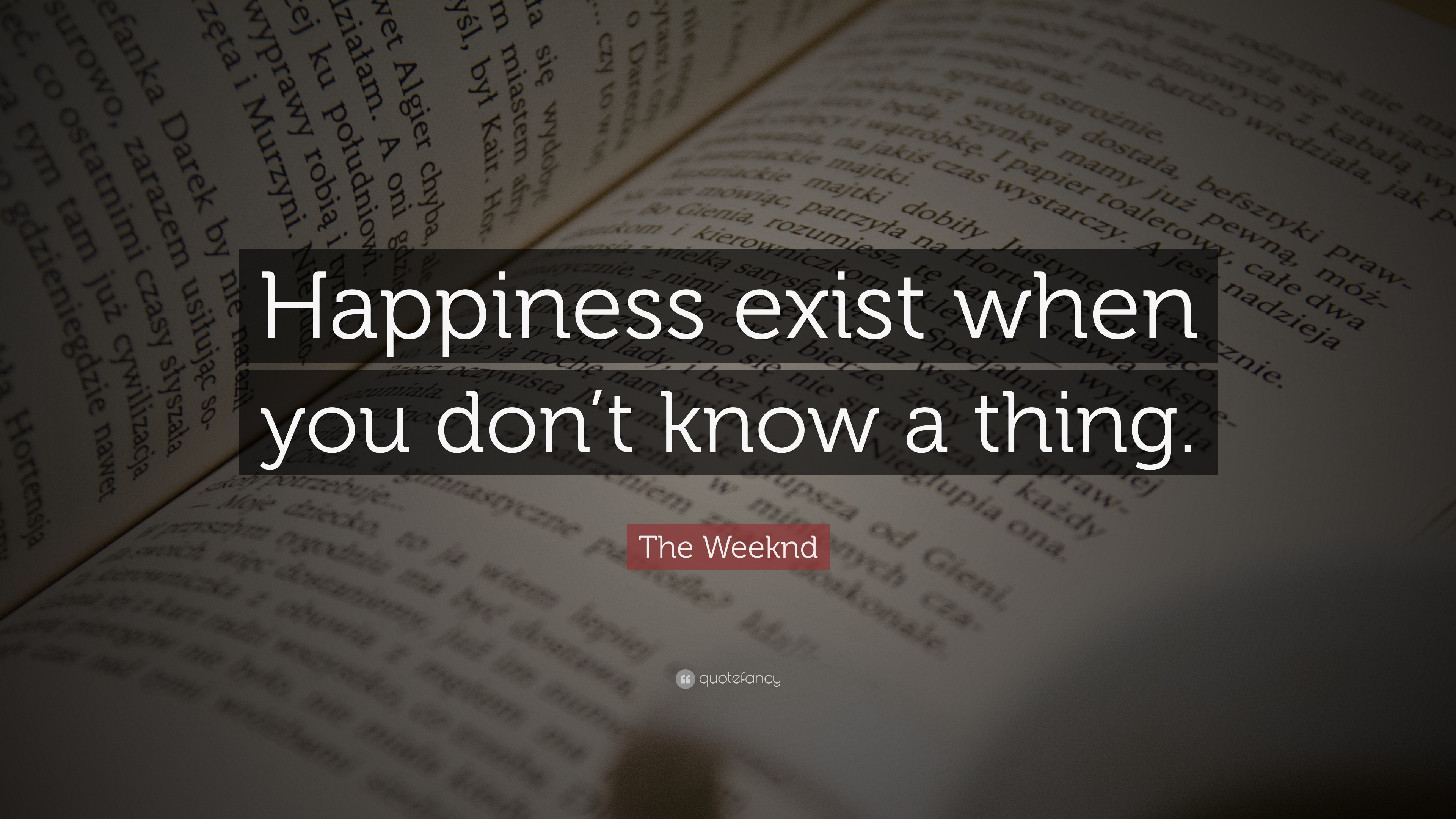 """The Weeknd Quotes The Weeknd Quote: """"Happiness exist when you don't know a thing  The Weeknd Quotes"""