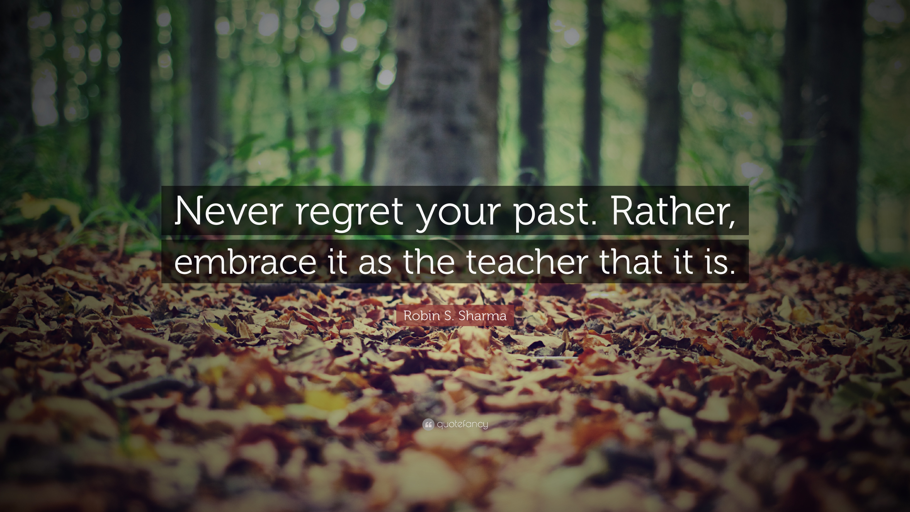 "Quote About Your Past: Robin S. Sharma Quote: ""Never Regret Your Past. Rather"