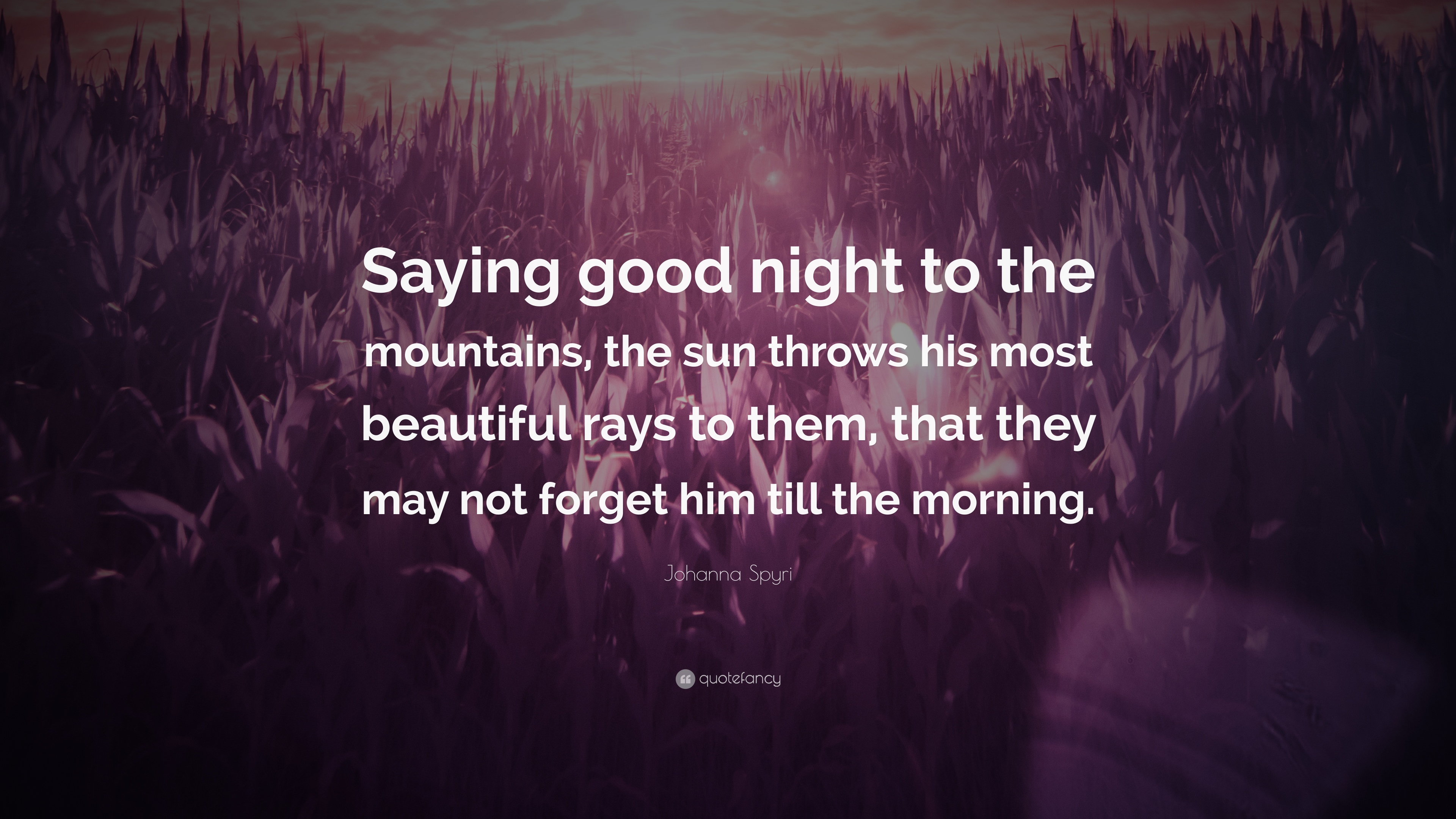 Johanna Spyri Quote Saying Good Night To The Mountains The Sun