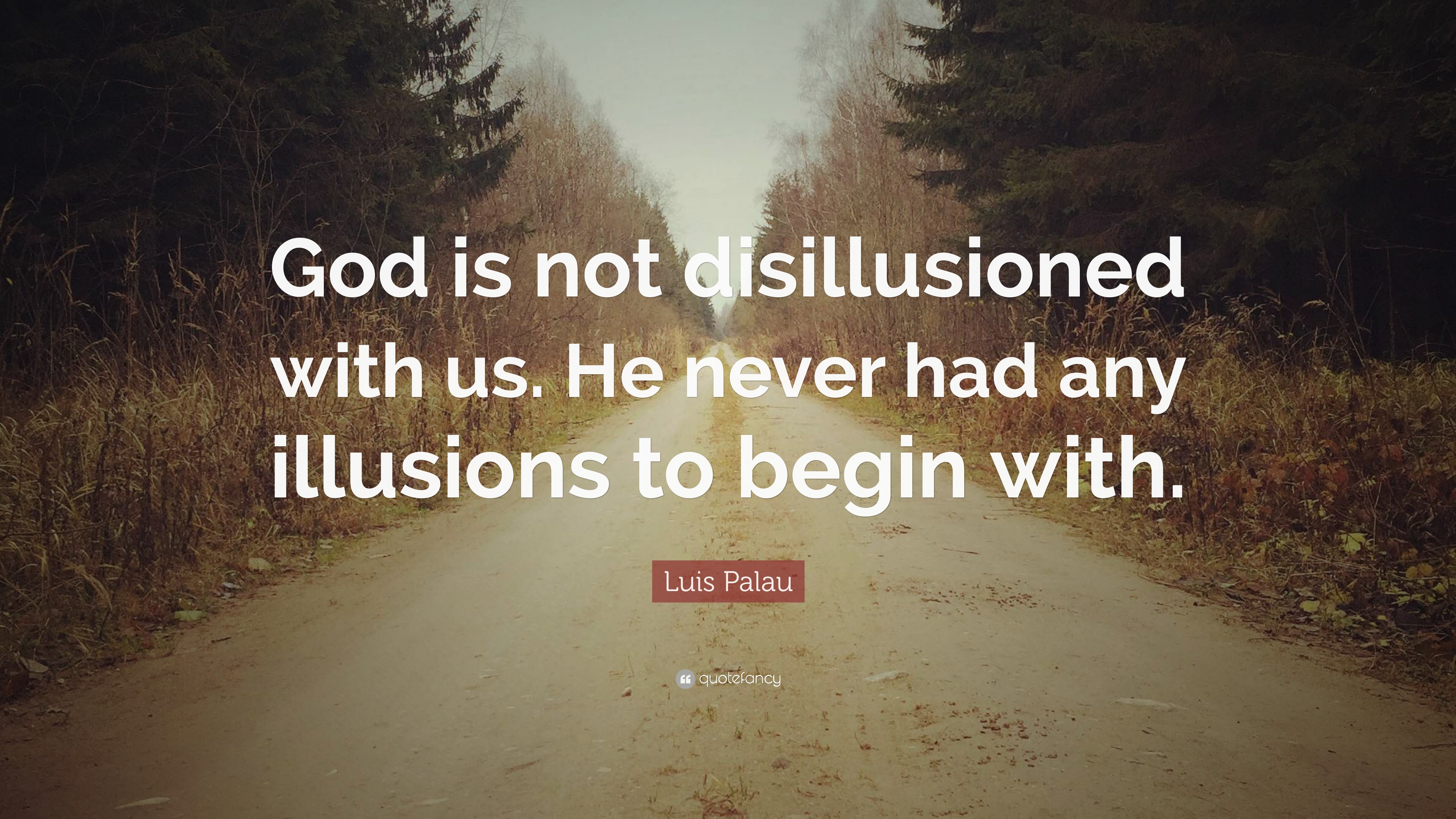 "luis quote ""god is not disillusioned us he never had"